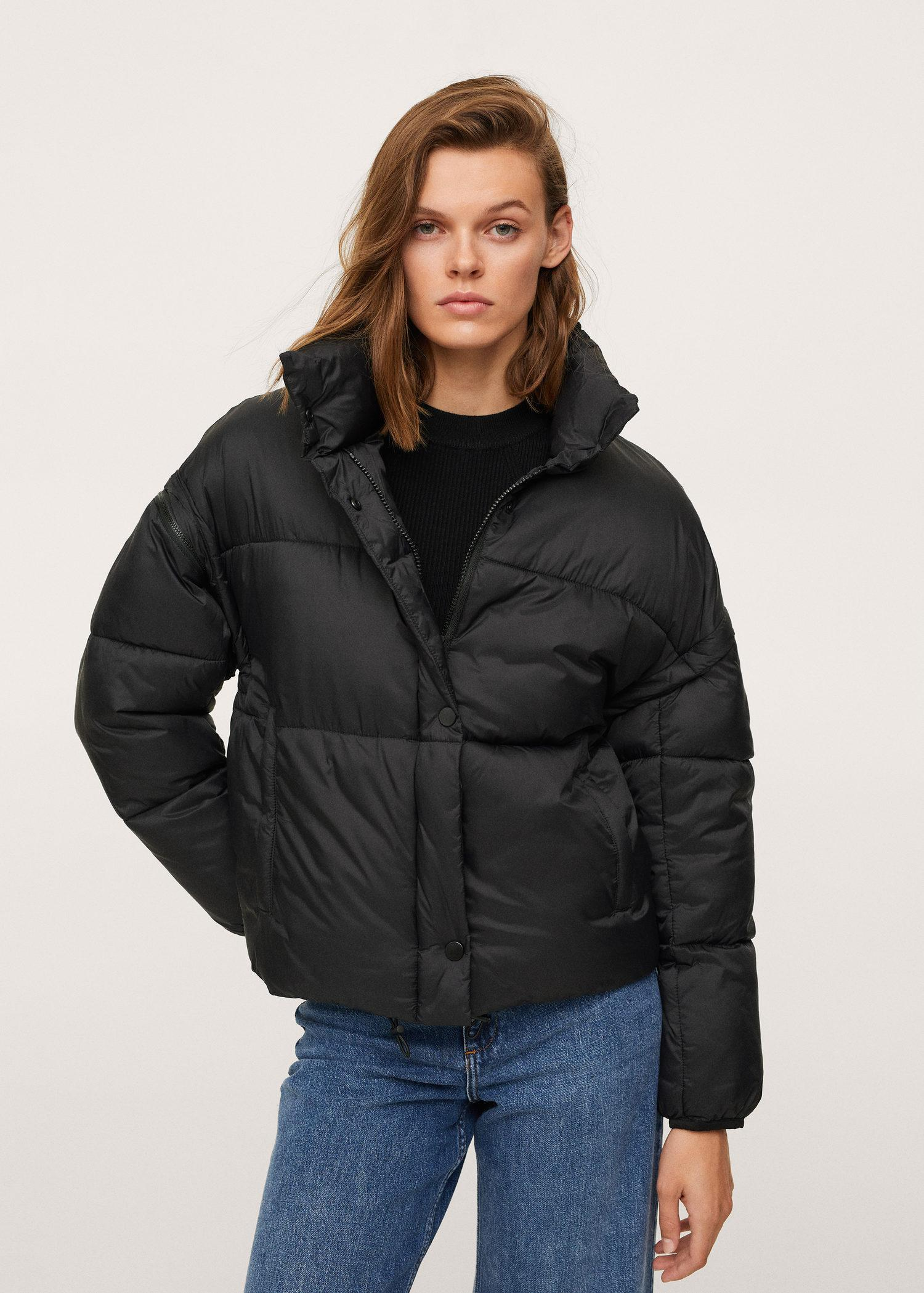 Padded jacket with detachable sleeves