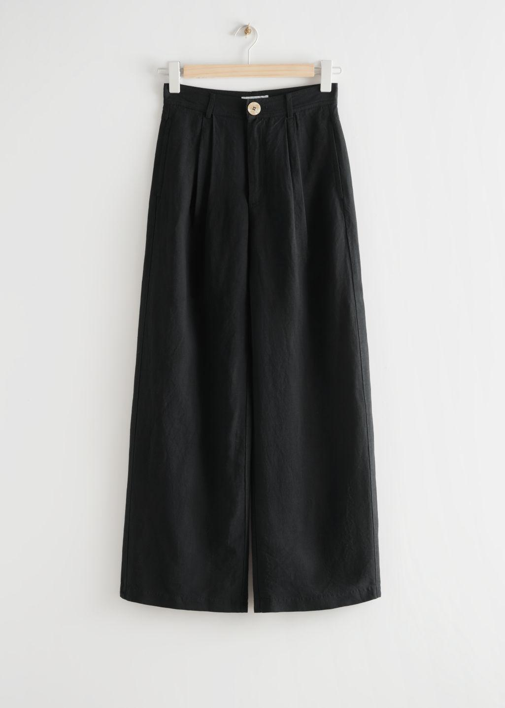 Wide Pleated High Waist Trousers