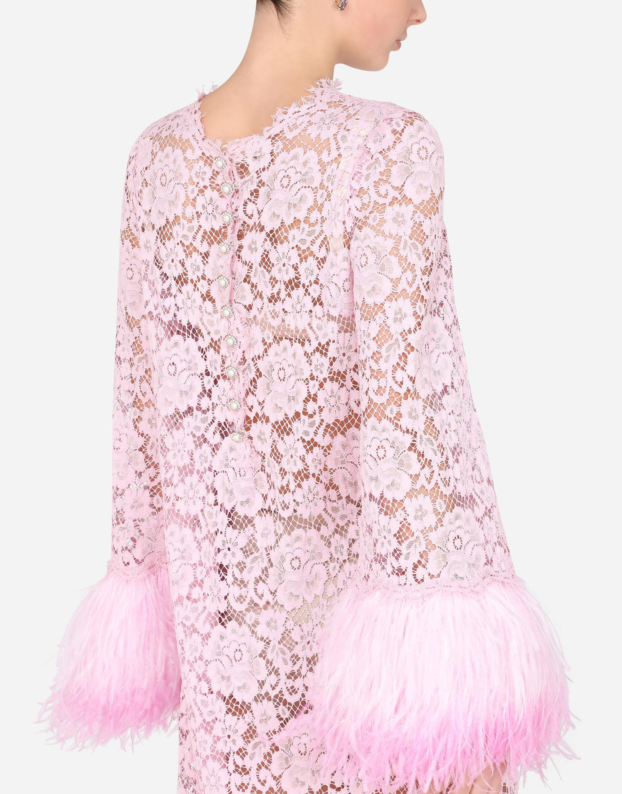 Lace caftan with marabou trim 2