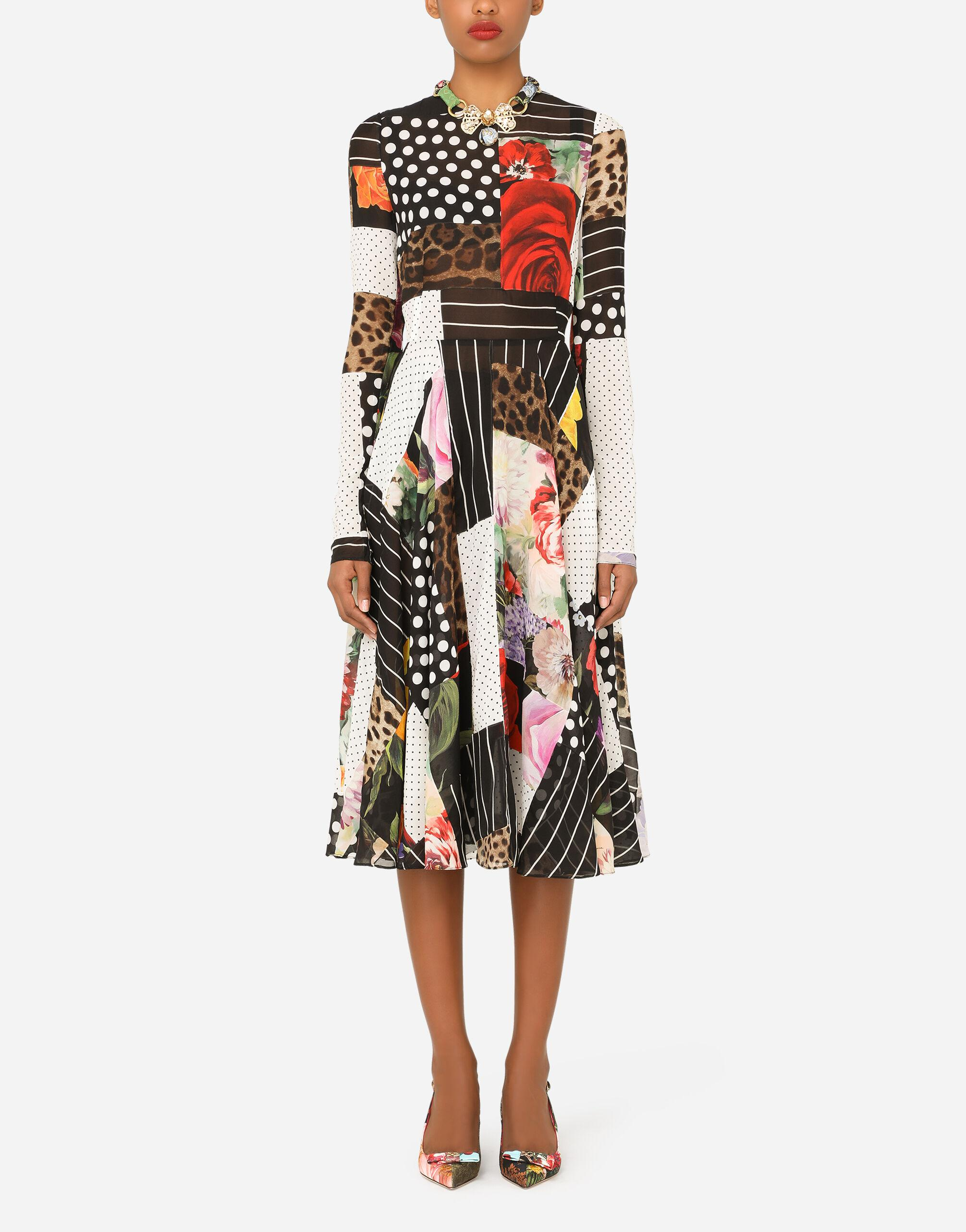 Patchwork chiffon and georgette calf-length dress