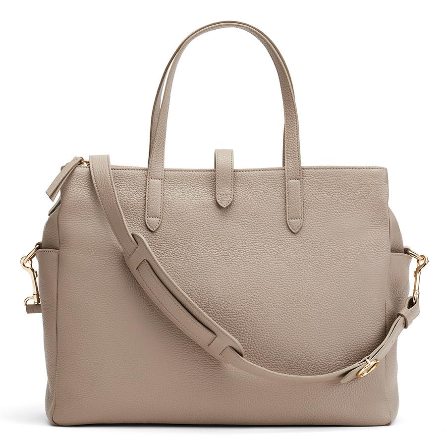 Women's Leather Triple Zipper Overnight Bag in Stone | Pebbled Leather by Cuyana