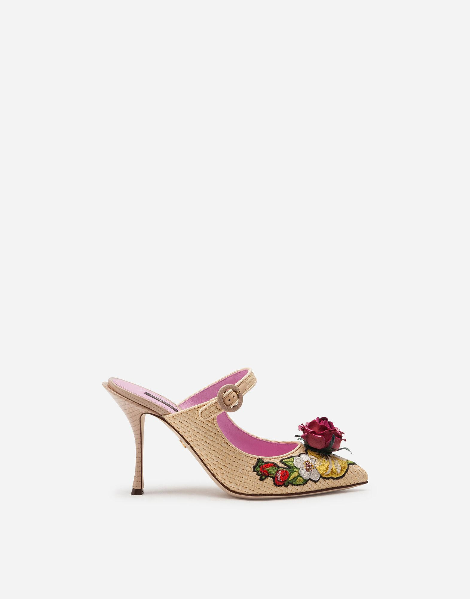 Braided raffia mules with floral embroidery