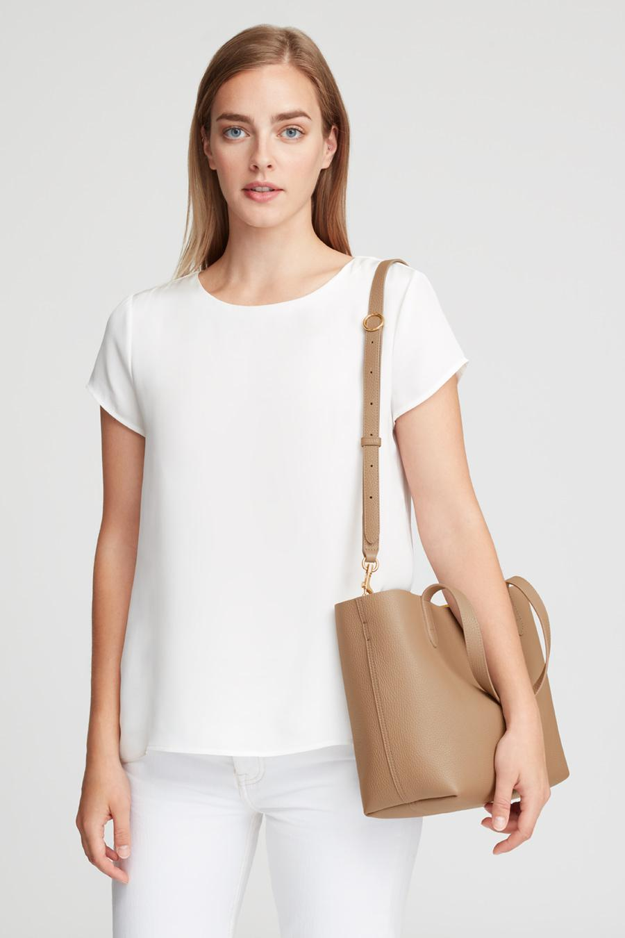 Women's Small Structured Leather Tote Bag in Cappuccino/Yellow | Pebbled Leather by Cuyana 4