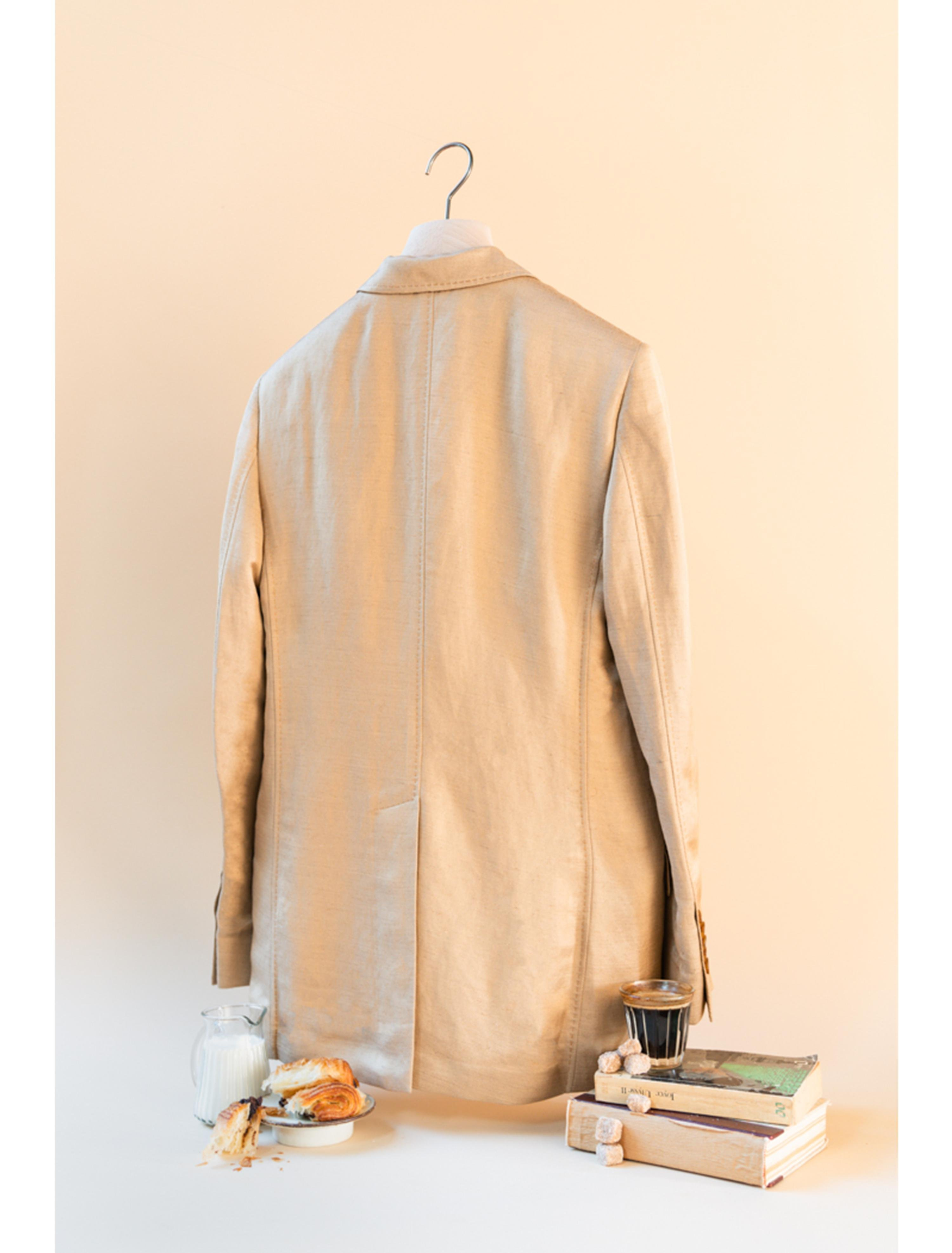 THE ALEK DOUBLE BREASTED TEXTURED LINEN VISCOSE BLAZER 4