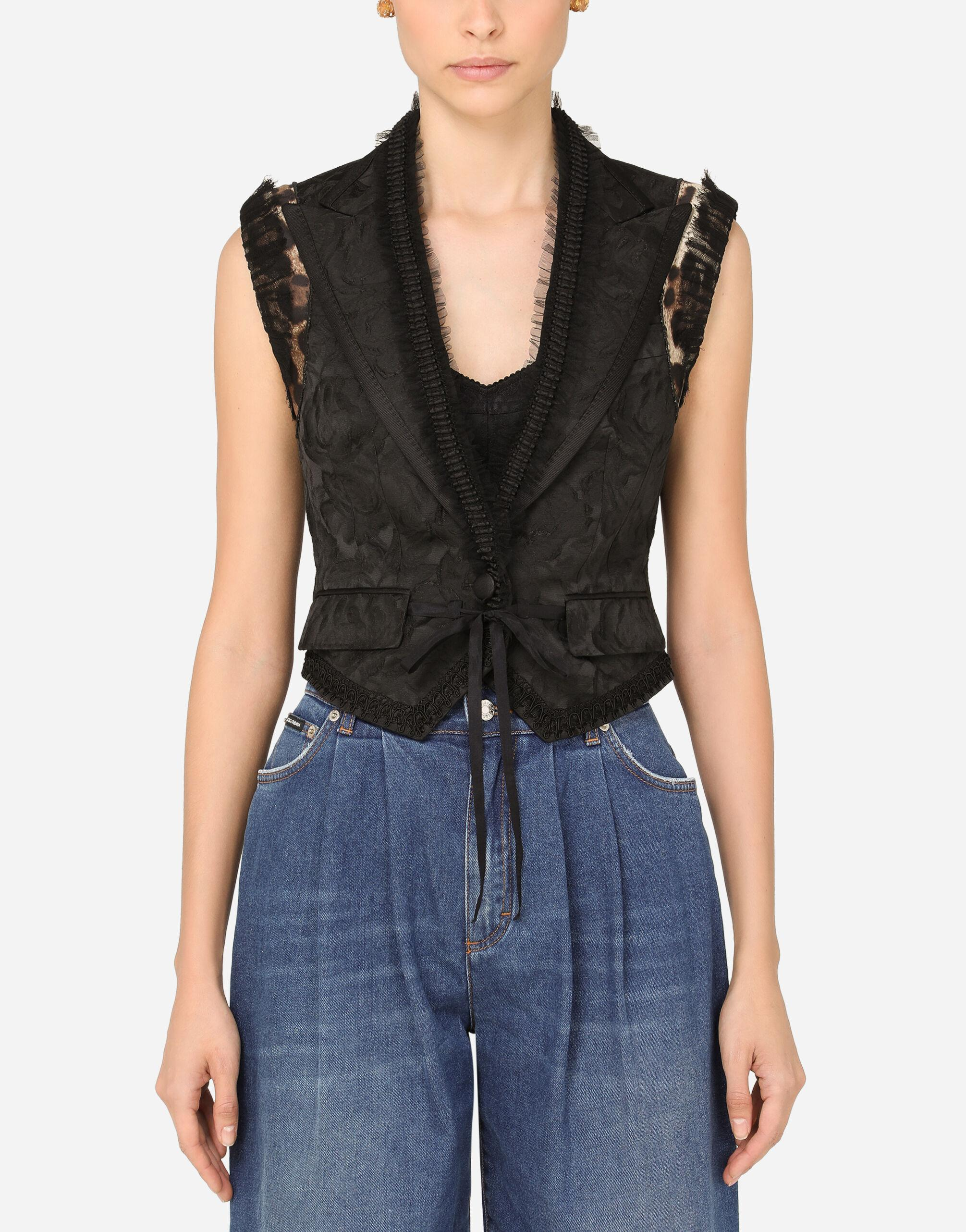 Jacquard vest with braided trims