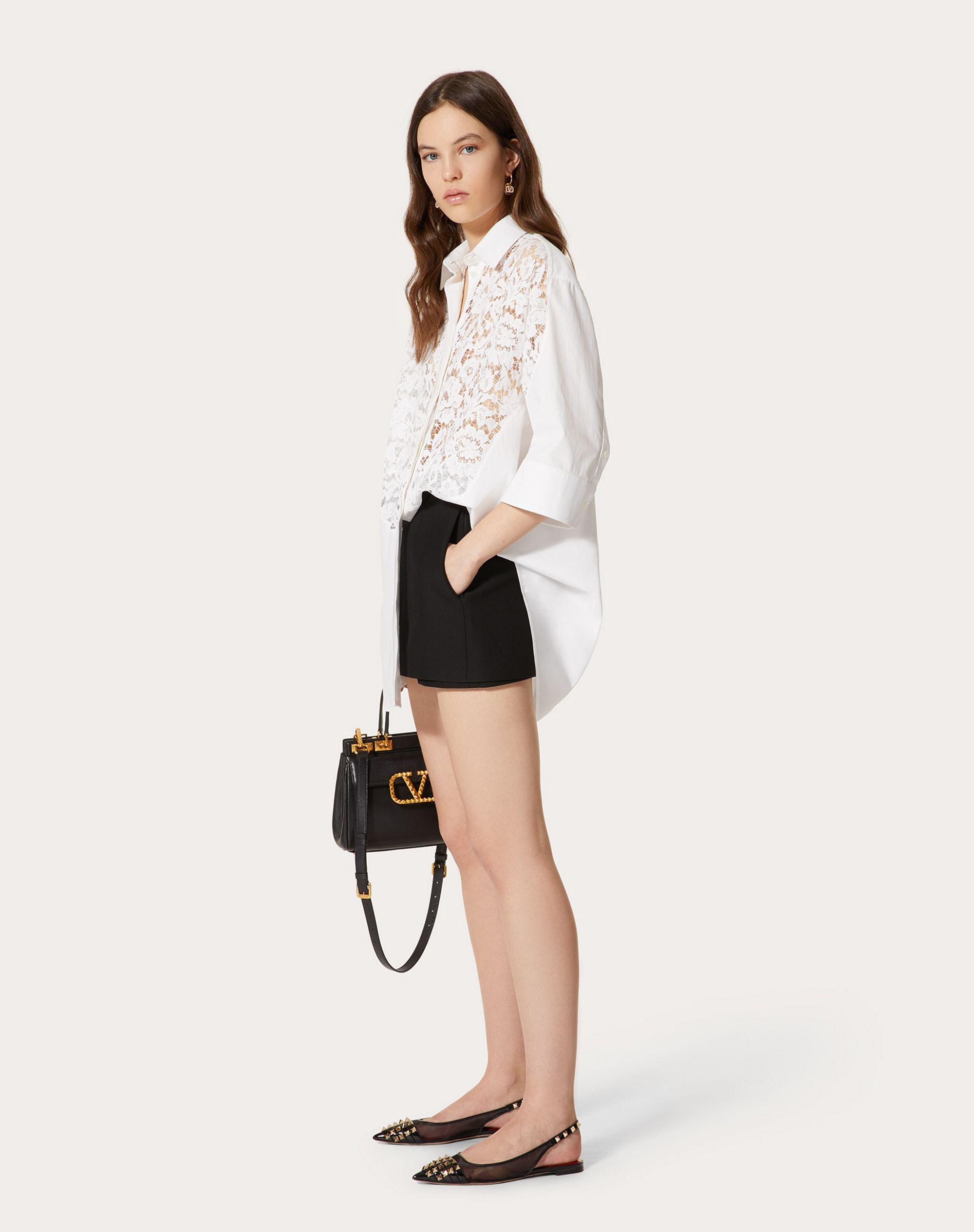 COTTON POPLIN AND HEAVY LACE SHIRT