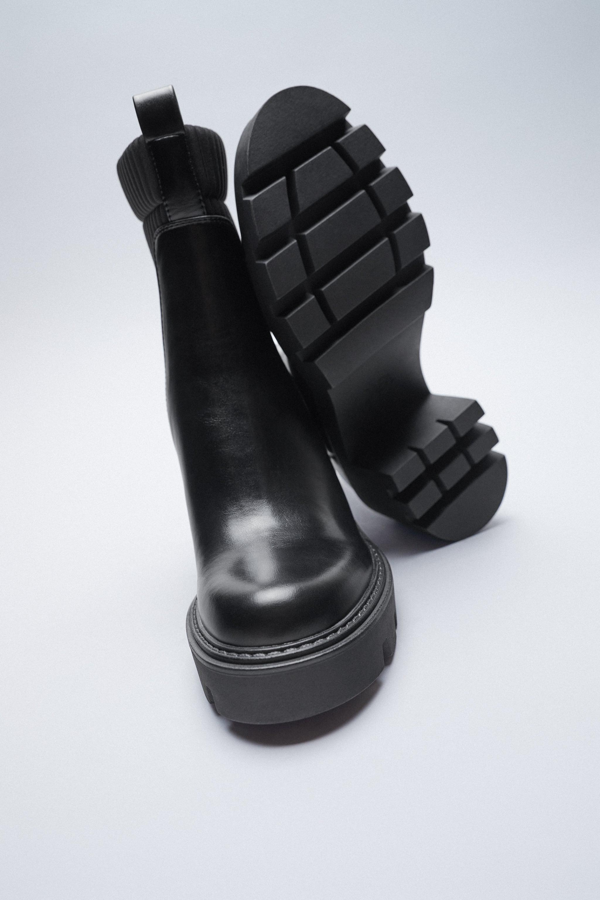 SOCK STYLE HEELED ANKLE BOOTS WITH LUG SOLES 2