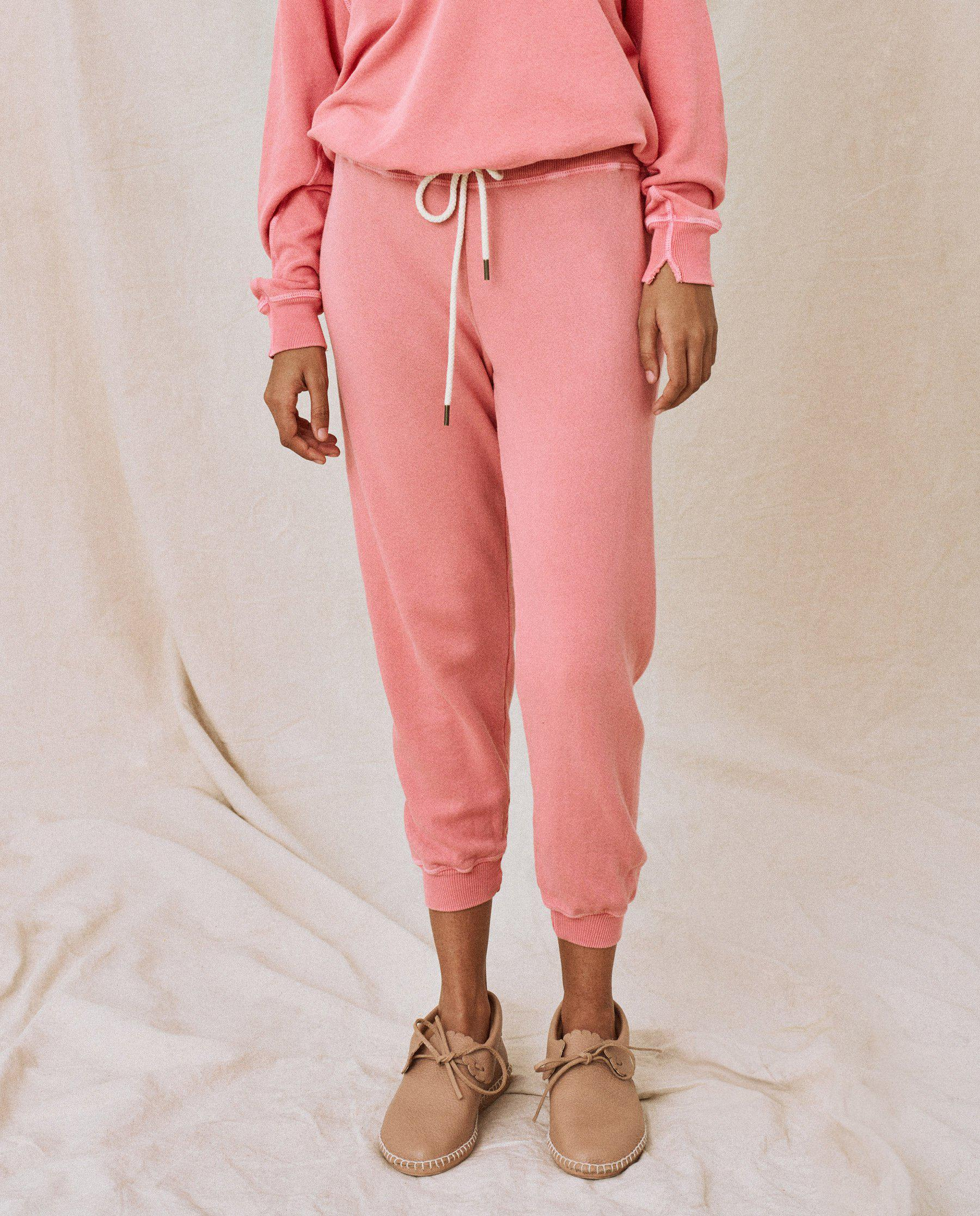 The Cropped Sweatpant. Solid -- Tahitian Pink