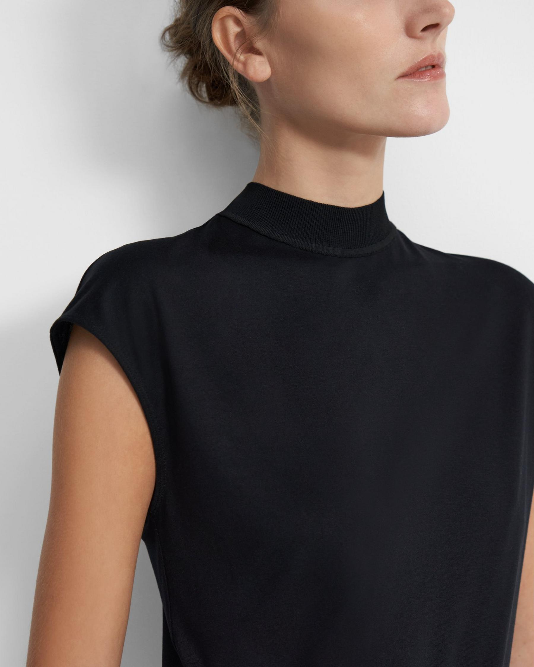 Ribbed Neck Top in Silk Jersey 1