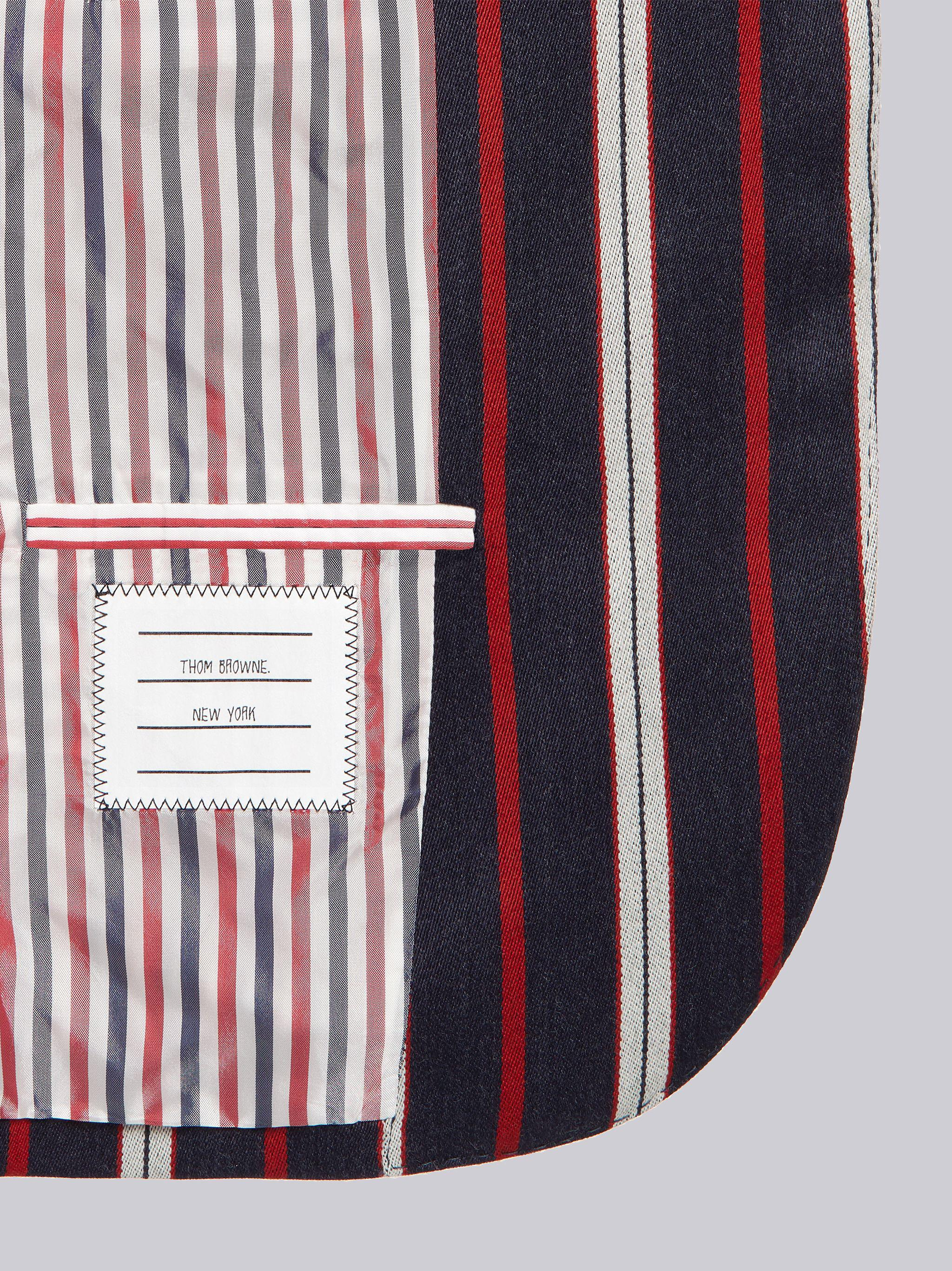 Multi-Color Wool Cotton Suiting Variegated Rep Stripe High Armhole Jacket 5