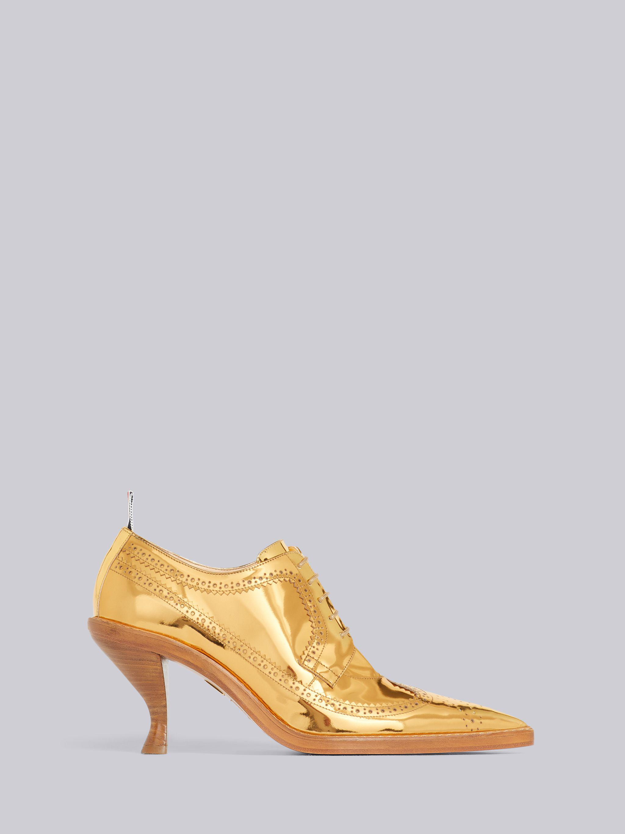 Gold Specchio Calf Leather 75mm Curved Heel Longwing Brogue
