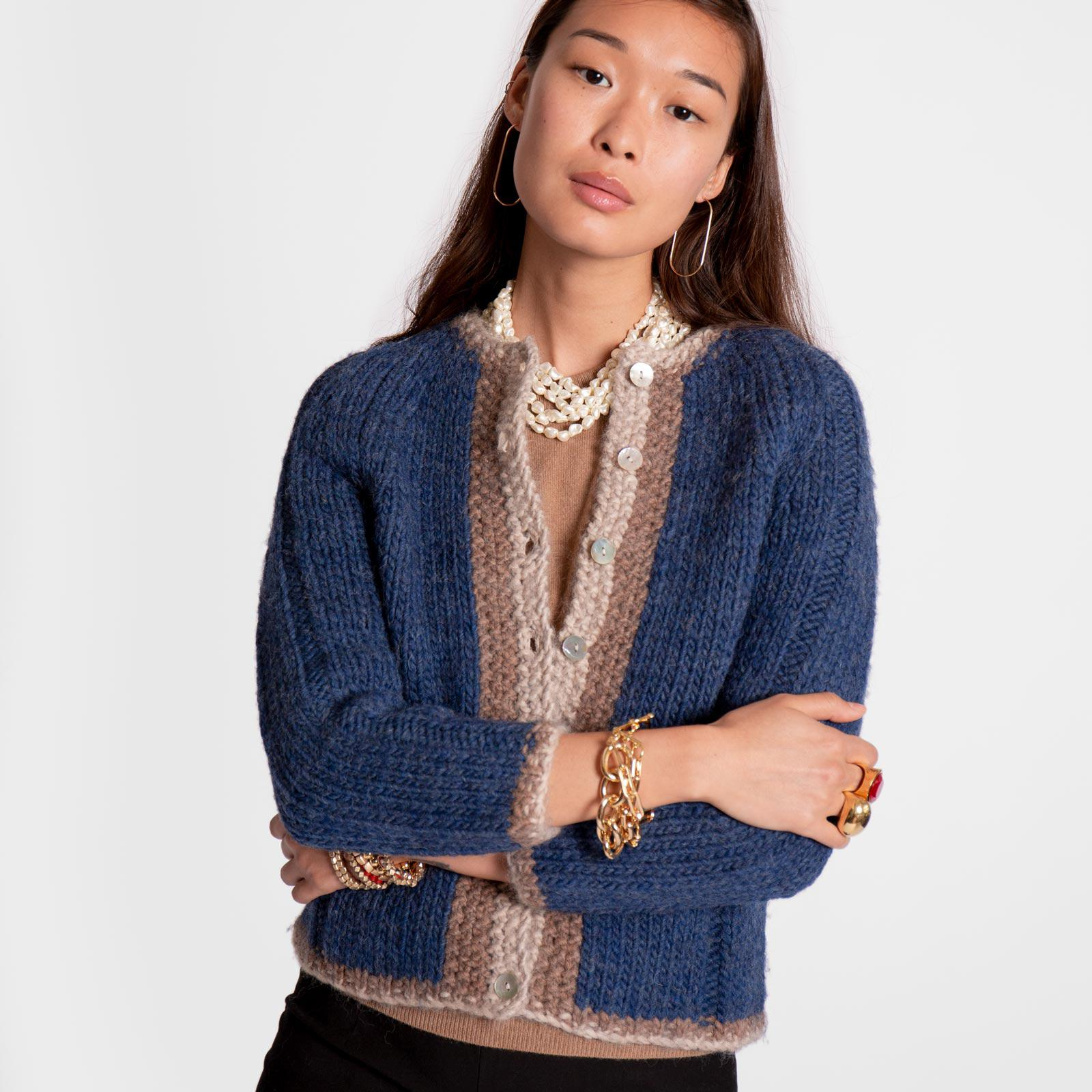 Wool Border Sweater French Blue