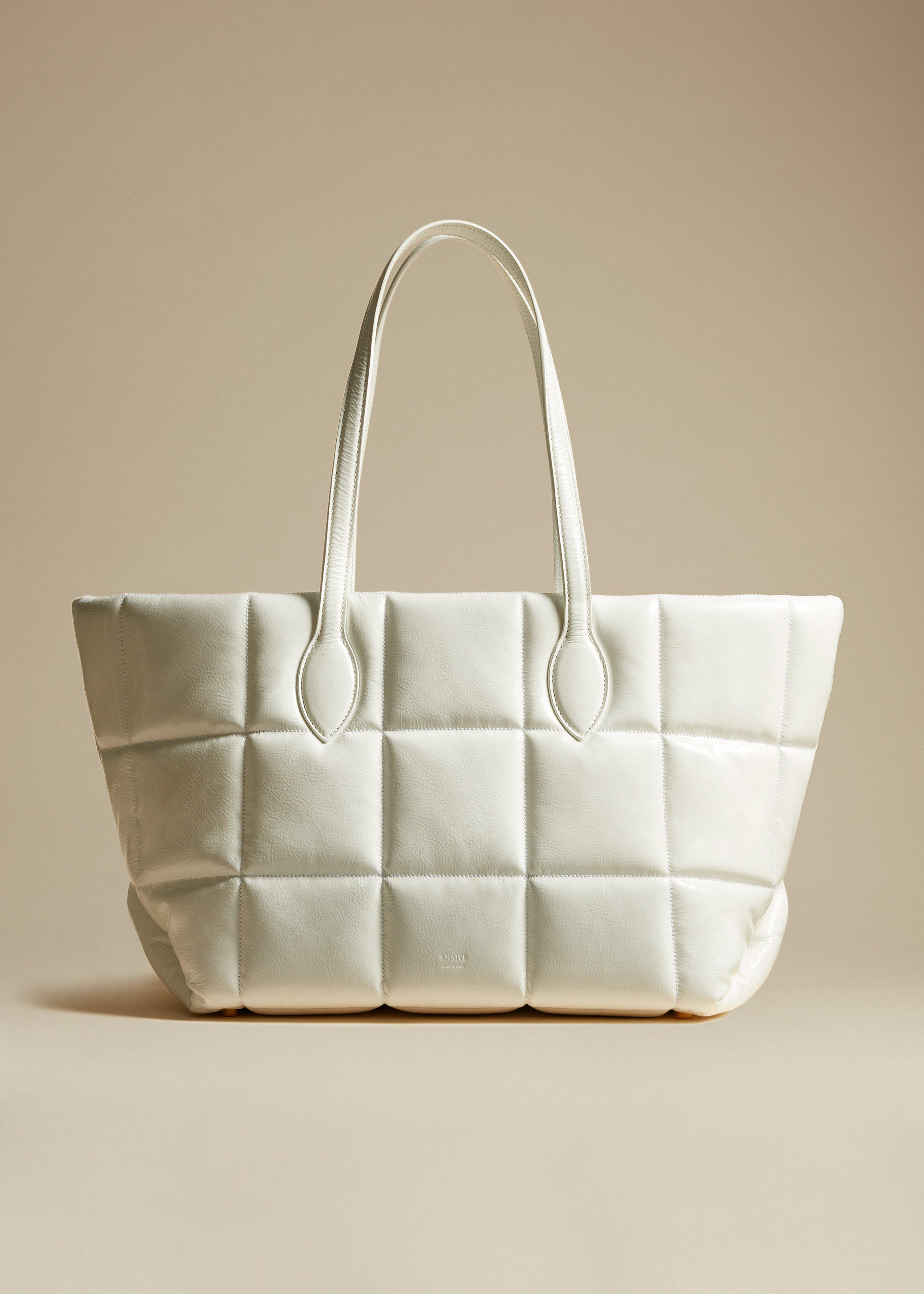 The Florence Quilted Tote in White Patent Leather