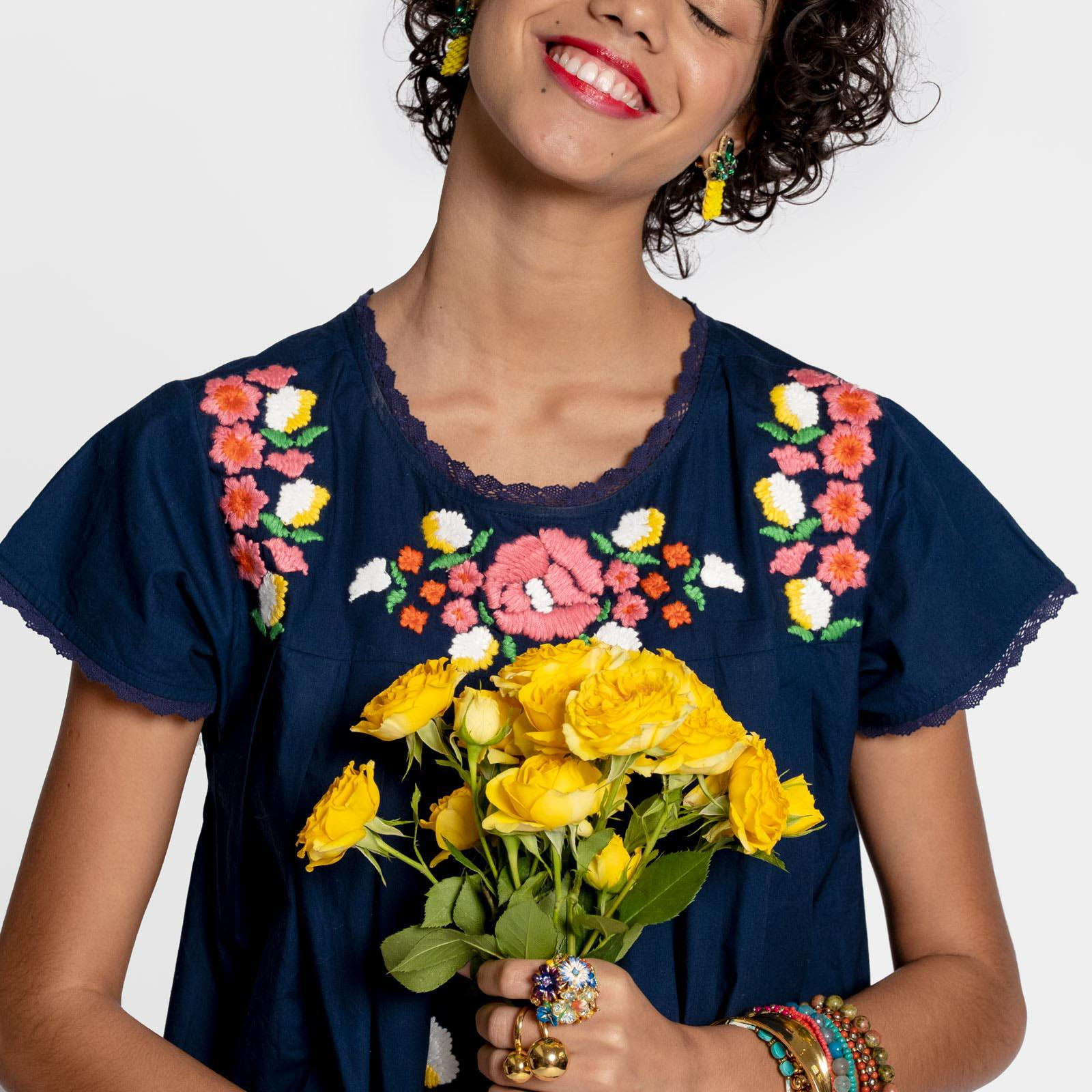 Floral Garland Embroidered Dress Navy 1