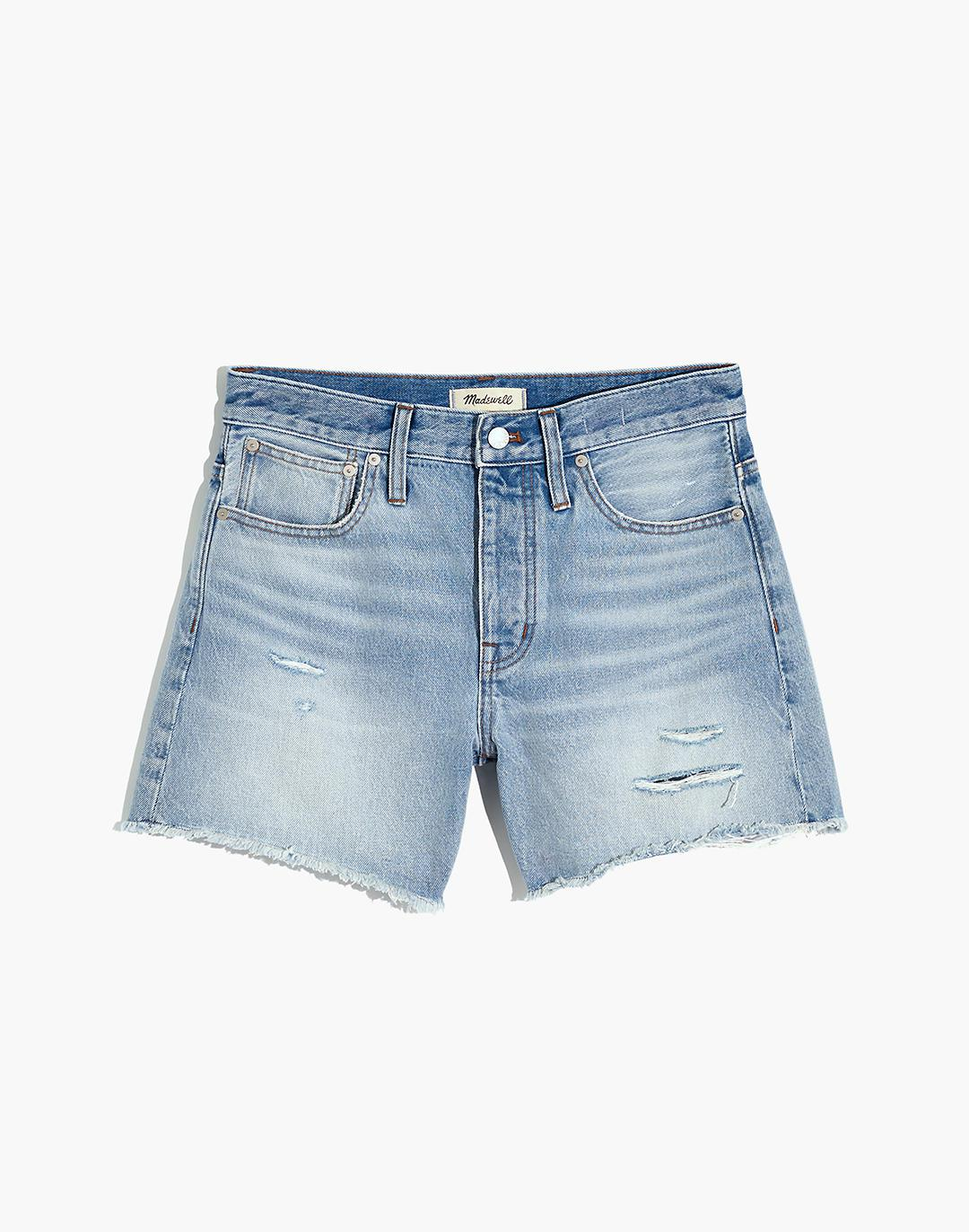 Relaxed Mid-Length Denim Shorts in Selton Wash: Ripped Edition 4