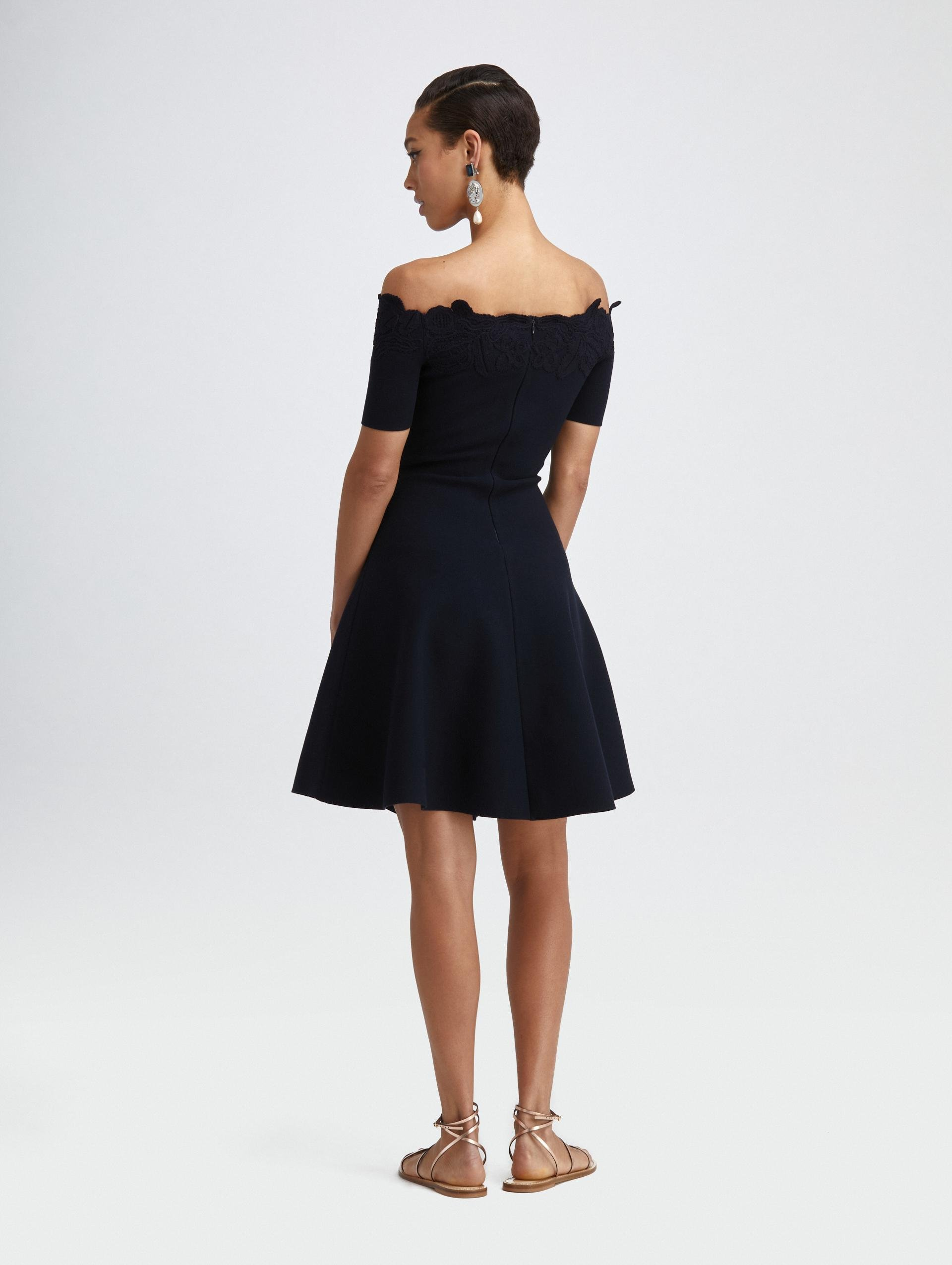 EMBROIDERED FIT AND FLARE KNIT DRESS 1