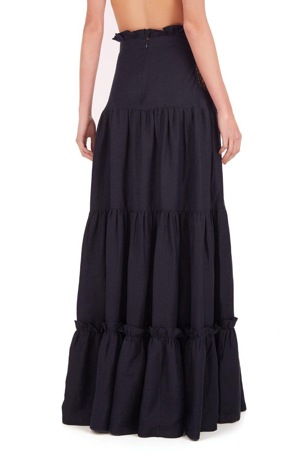 Marine Long Skirt With Seashell Embroidery 1