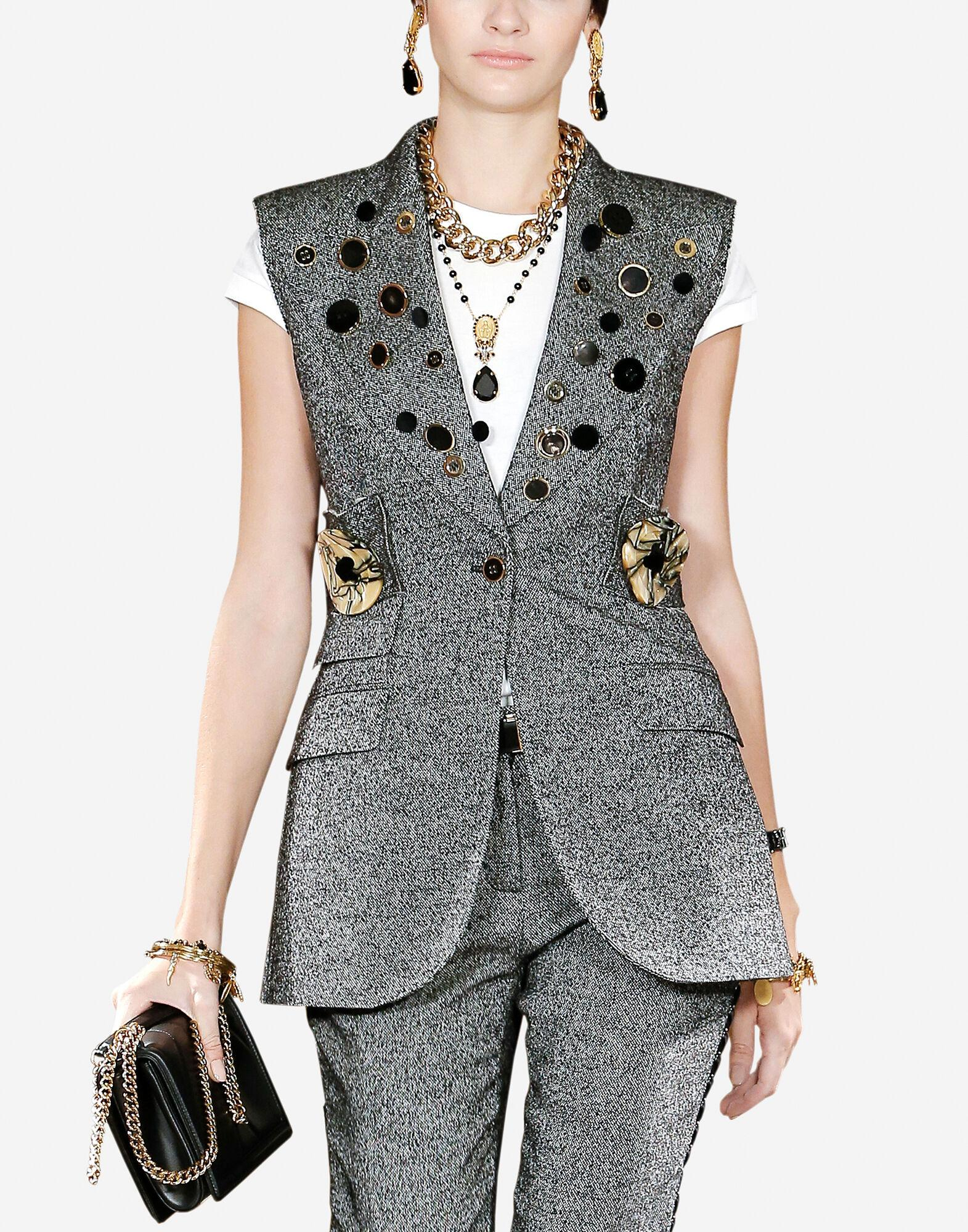 Micro-patterned wool vest with decorative buttons