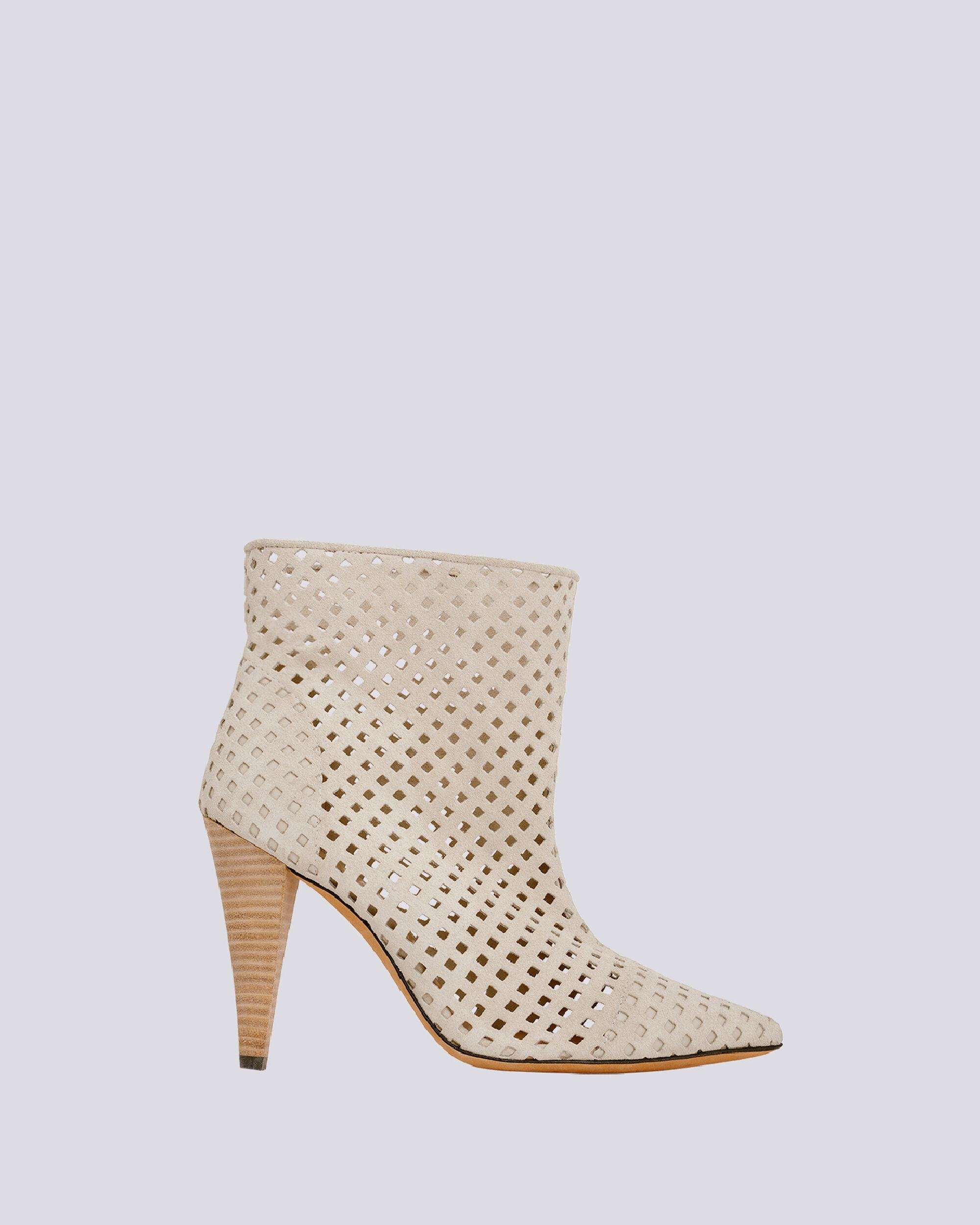 HIRSON PERFORATED SUEDE ANKLE BOOTS