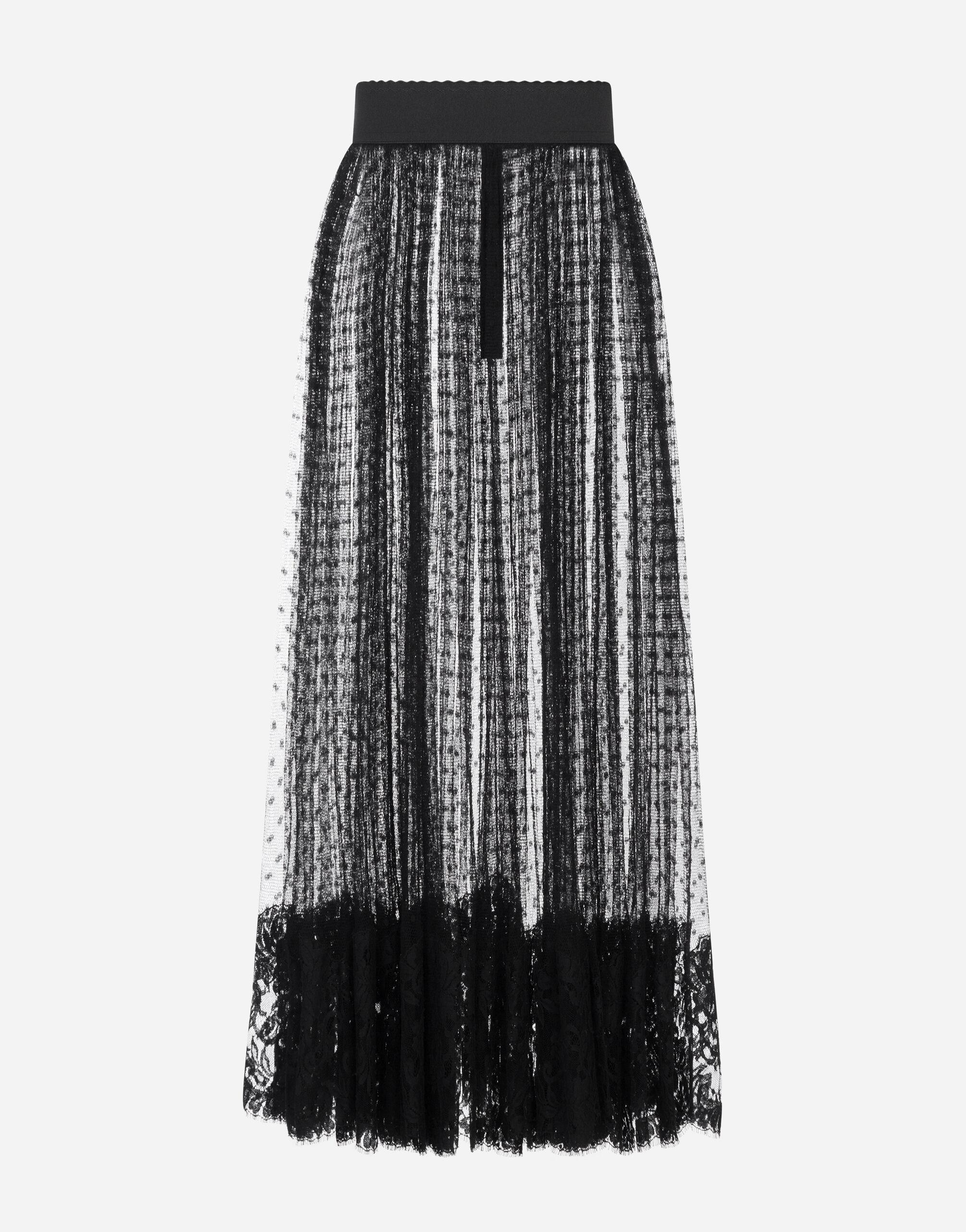 Pleated calf-length skirt in chantilly lace and plumetis 4