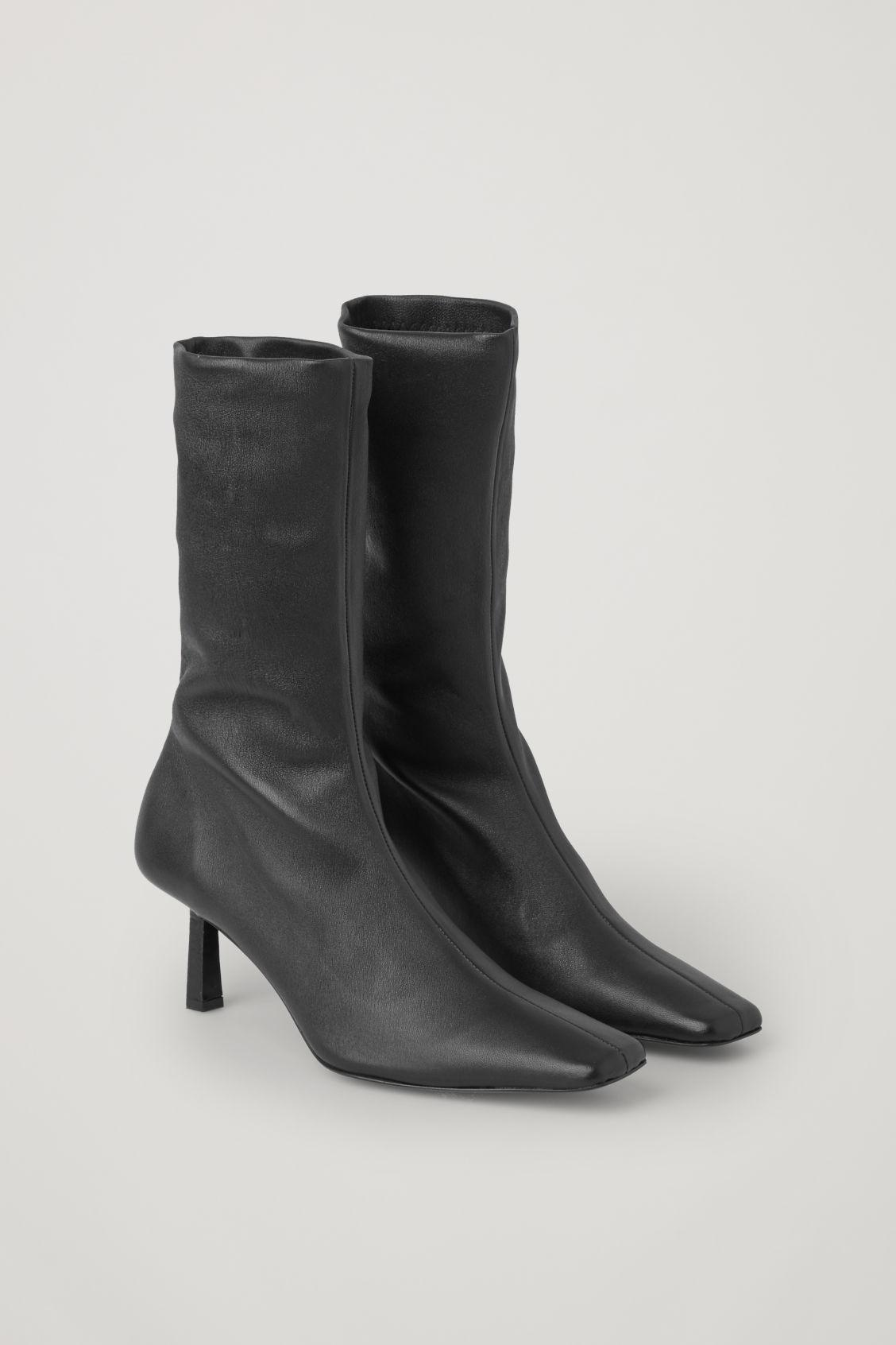 LEATHER SOCK ANKLE BOOTS