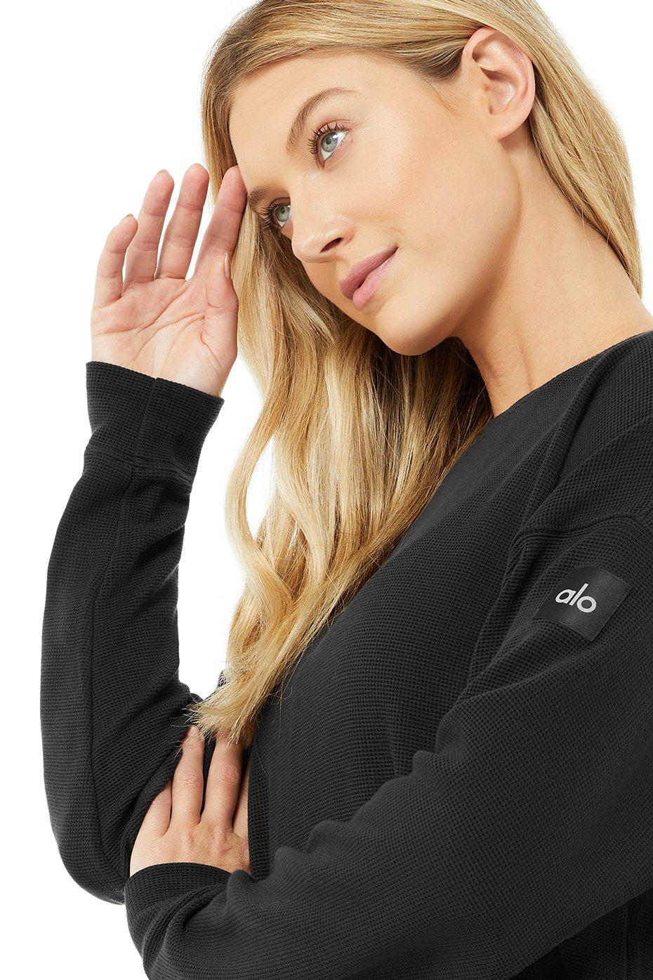 Micro Waffle Relaxation Pullover - Black 3