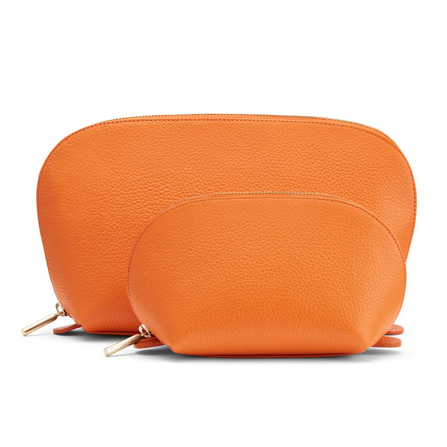 Women's Leather Travel Case Set in Orange | Pebbled Leather by Cuyana