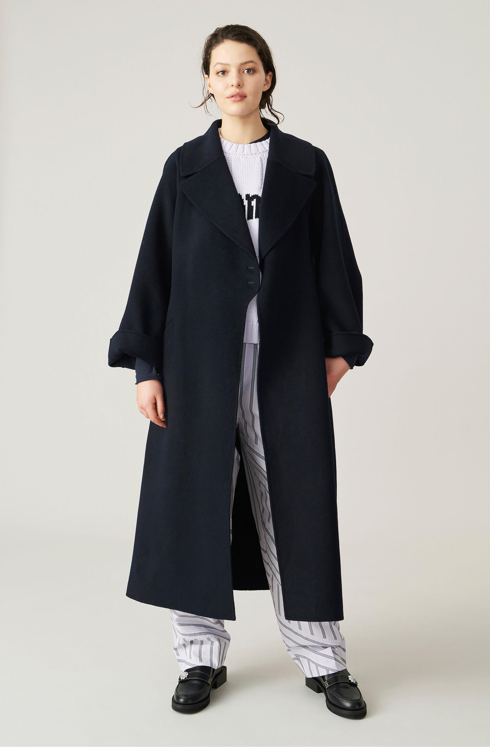 Recycled Wool Blend Long Belted Coat