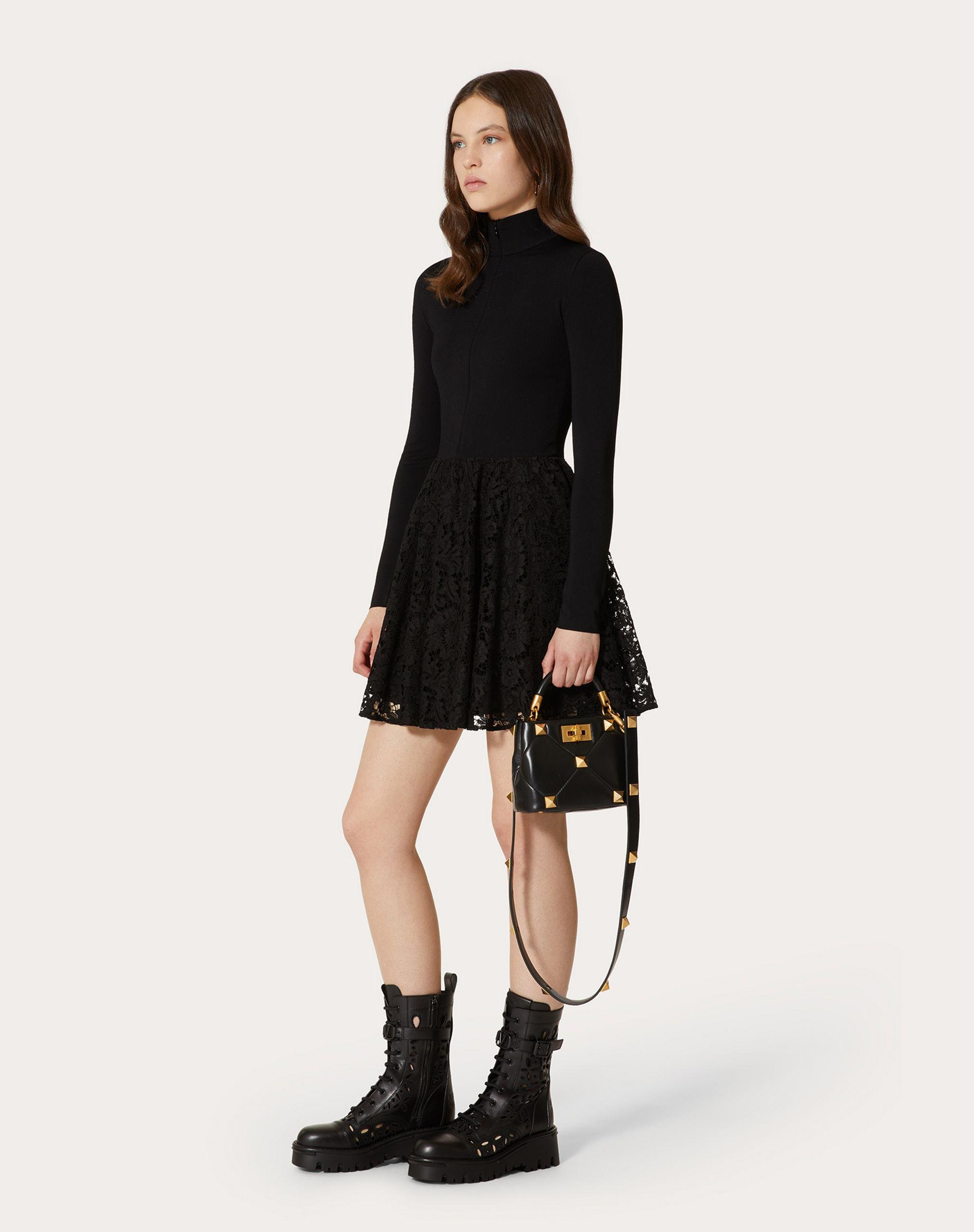 STRETCH VISCOSE AND HEAVY LACE SWEATER DRESS