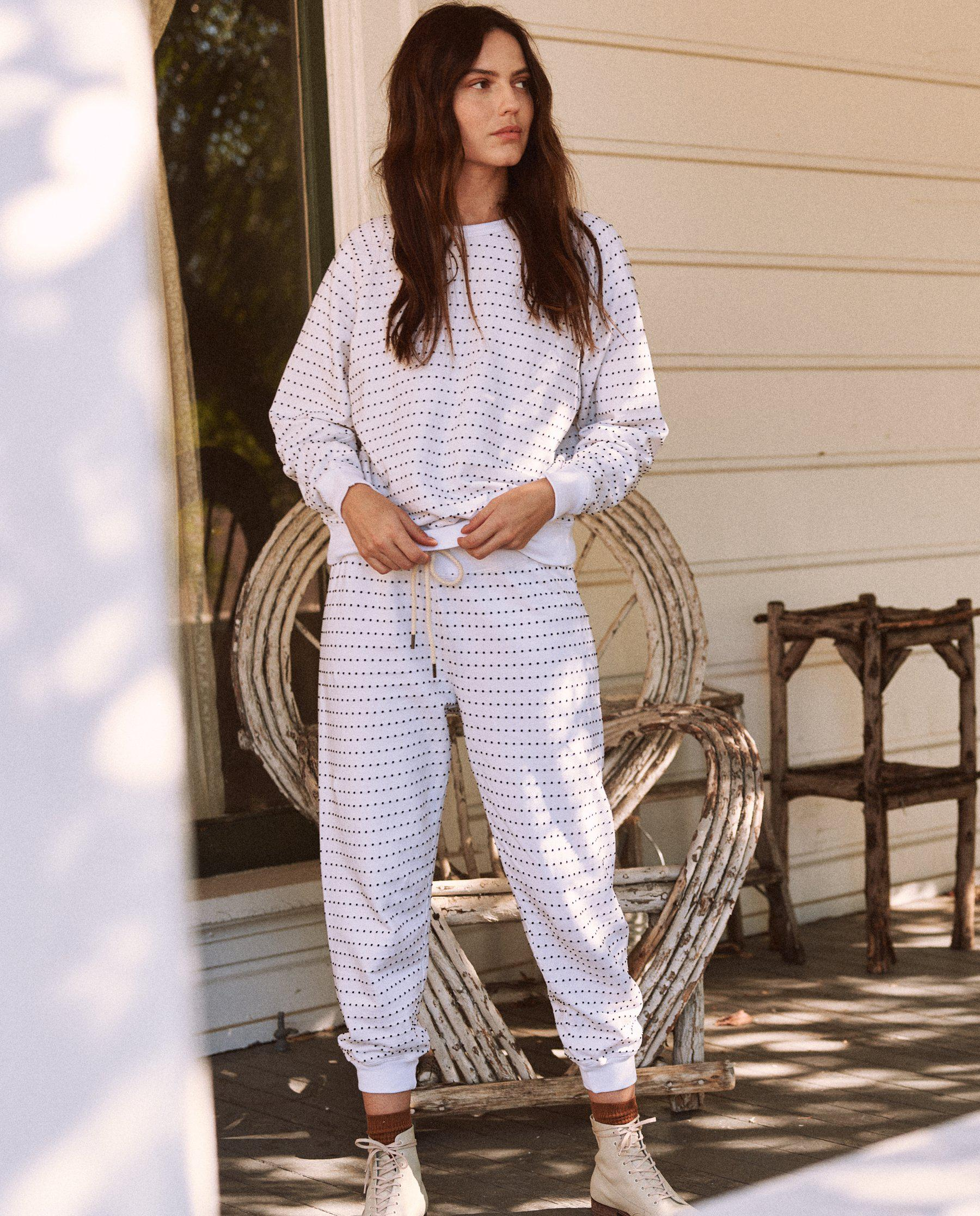 The Swiss Dot Cropped Sweatpant. -- True White