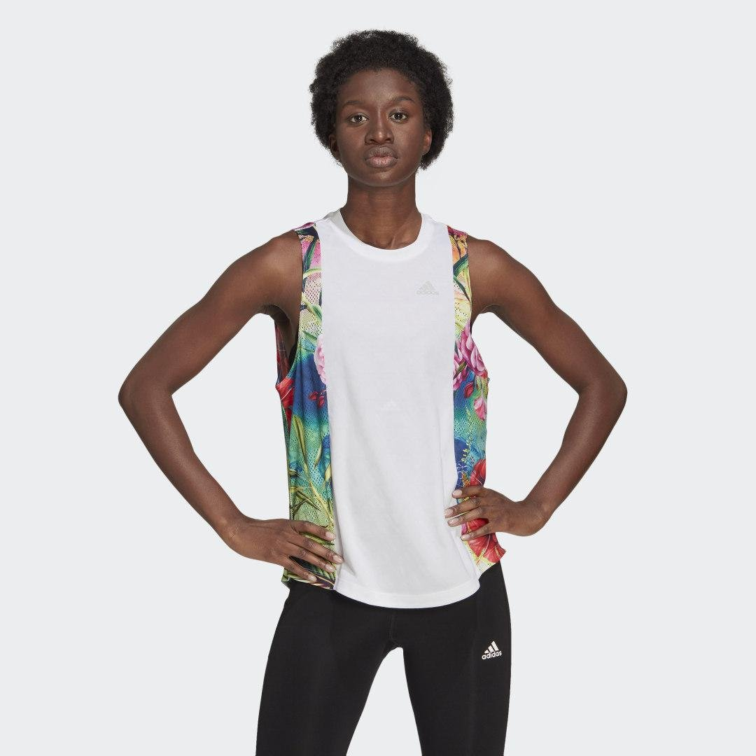 Own The Run Floral Tank Top White S - Womens Running Tank Tops