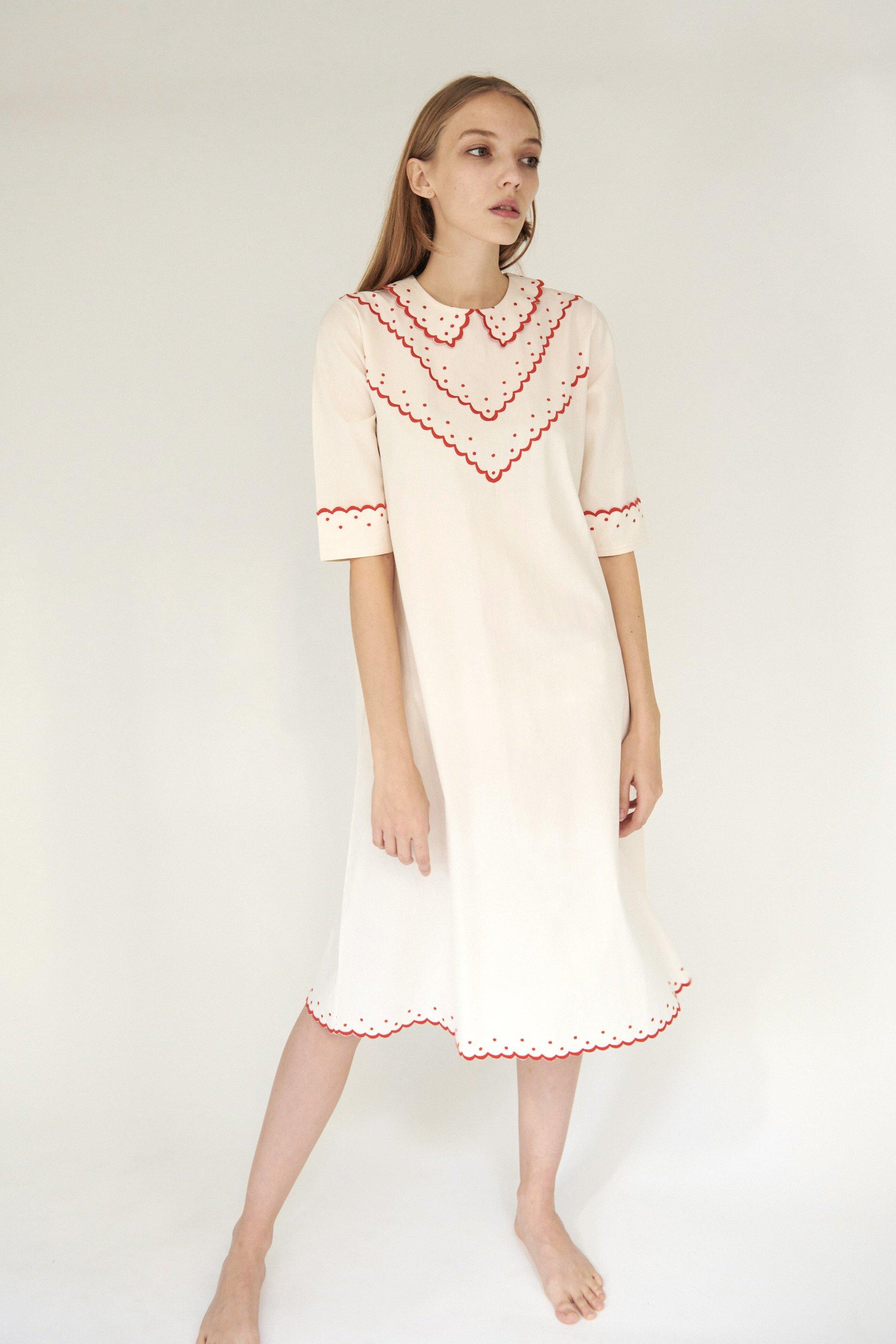 Shirley Dress in Cream with Red Embroidery 1