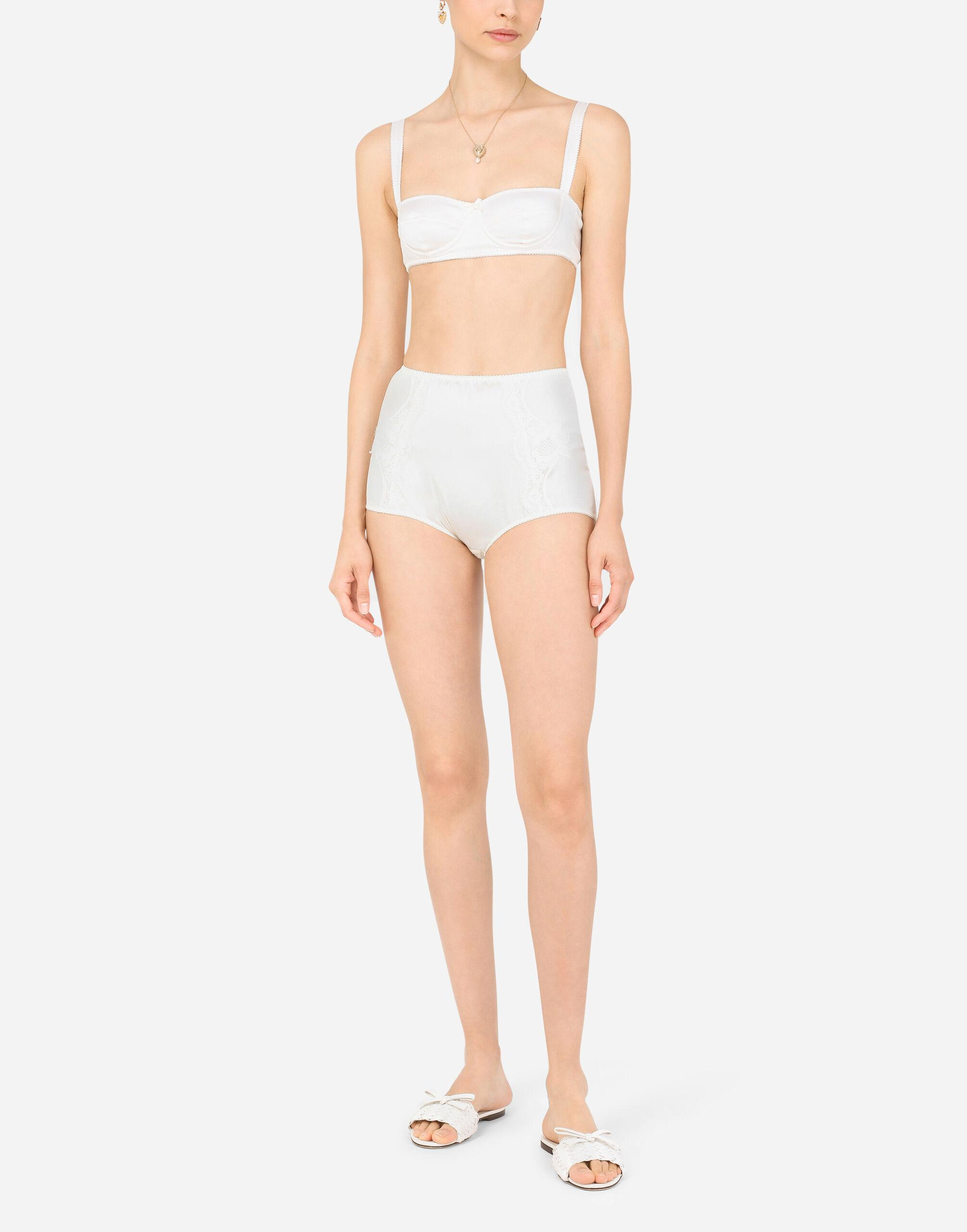 Satin high-waisted panties with lace details