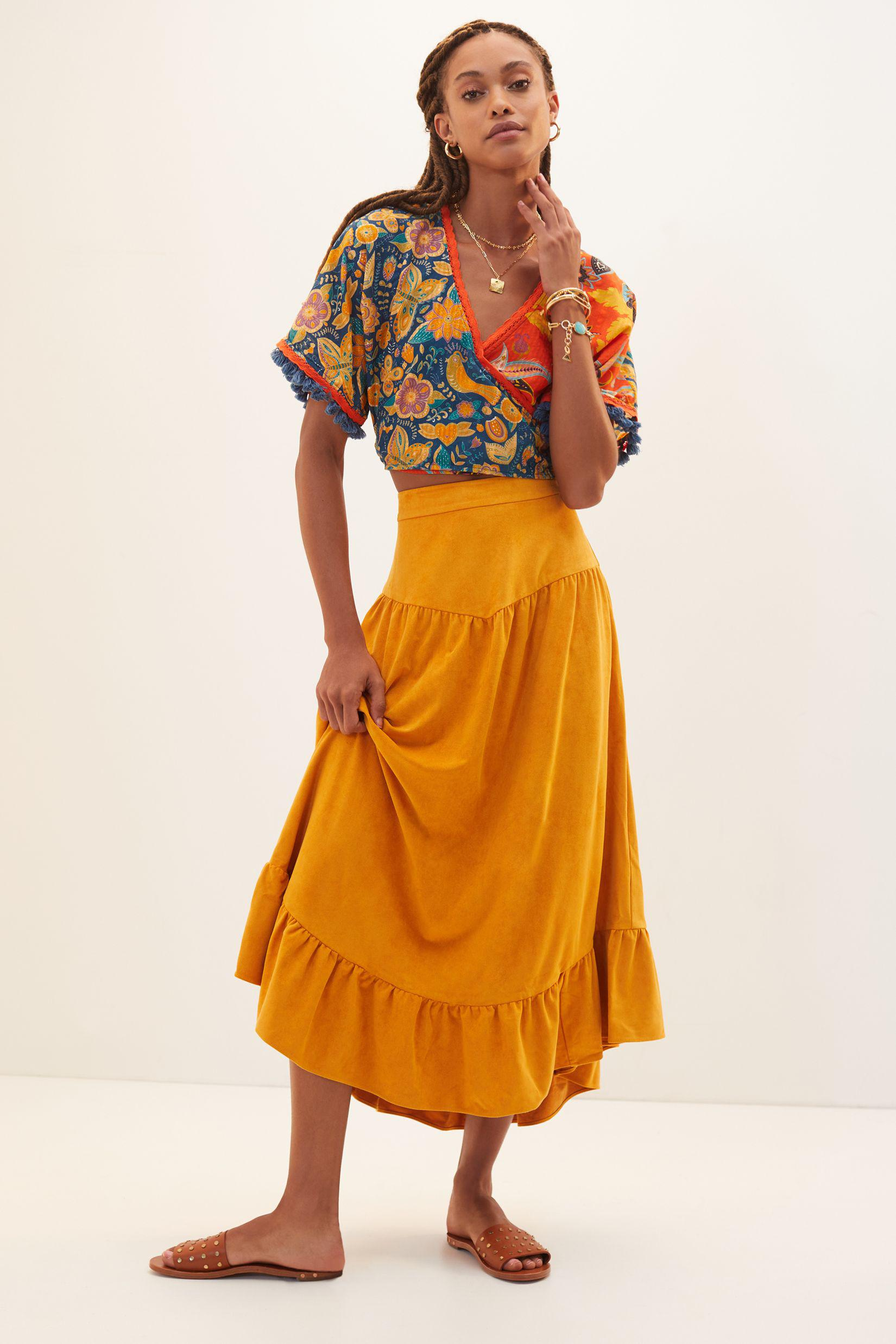Sueded Maxi Skirt