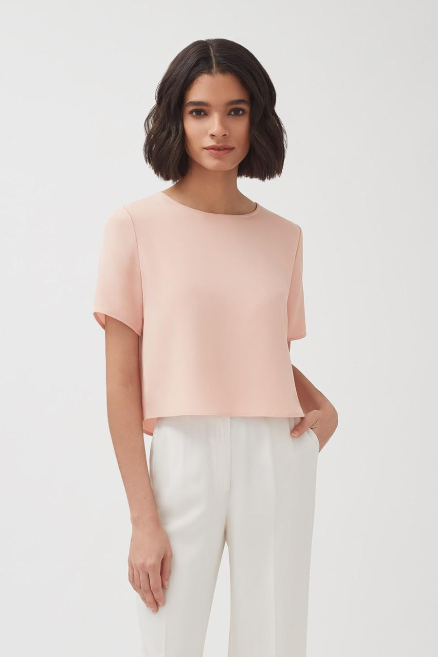 Women's Silk Cropped Tee in Soft Rose   Size: XL   3-Ply Silk by Cuyana 1
