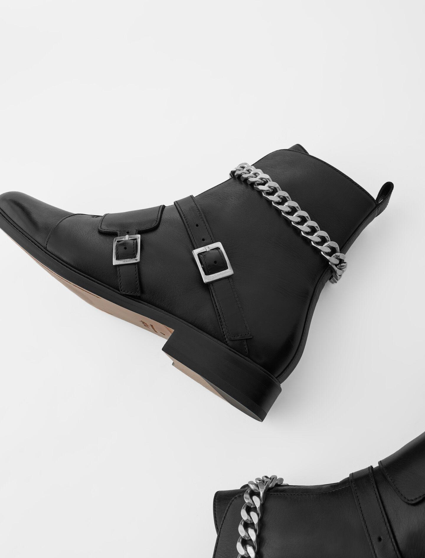 FLAT ANKLE BOOTS WITH STRAPS AND CHAIN 4