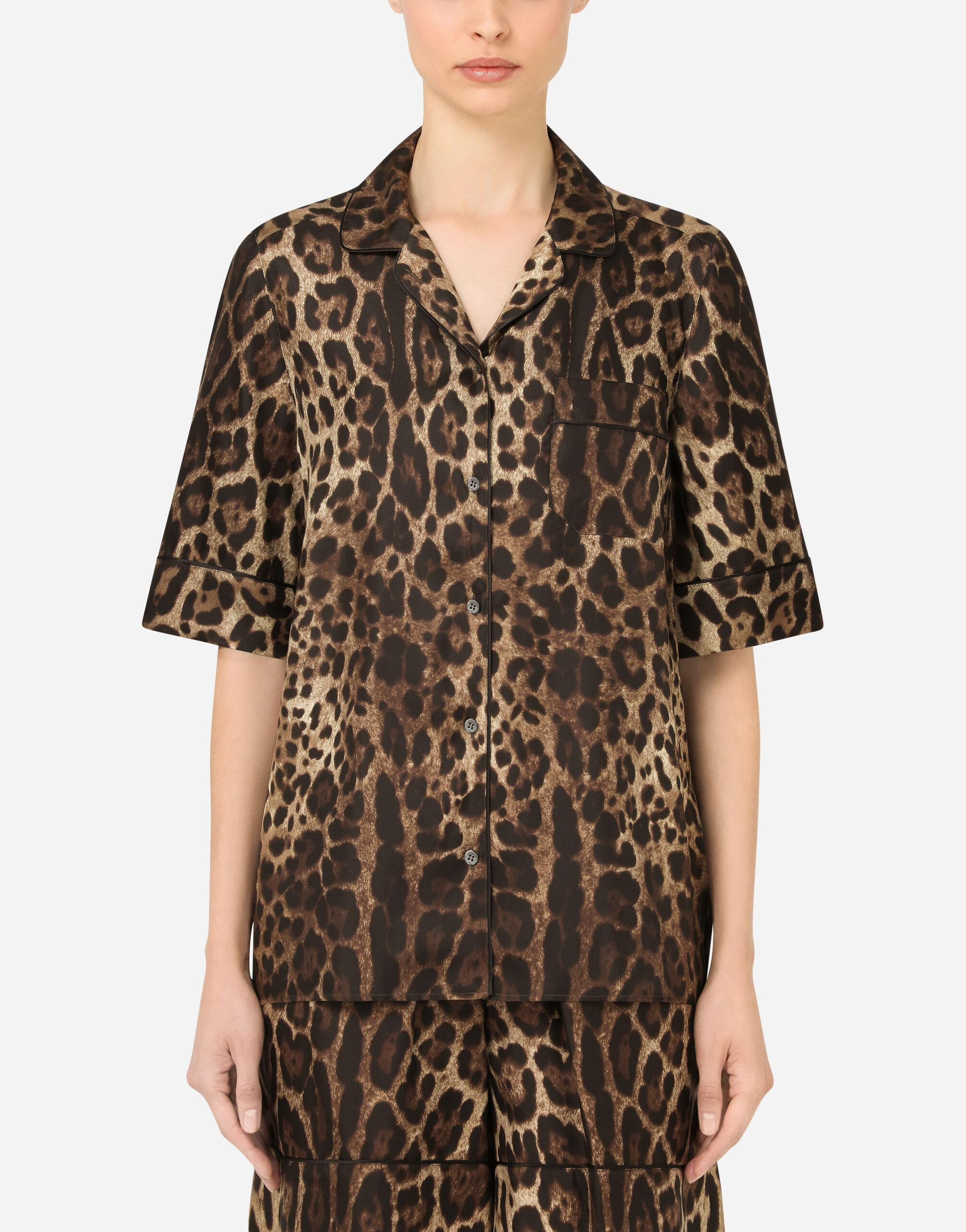 Leopard-print twill shirt with piping