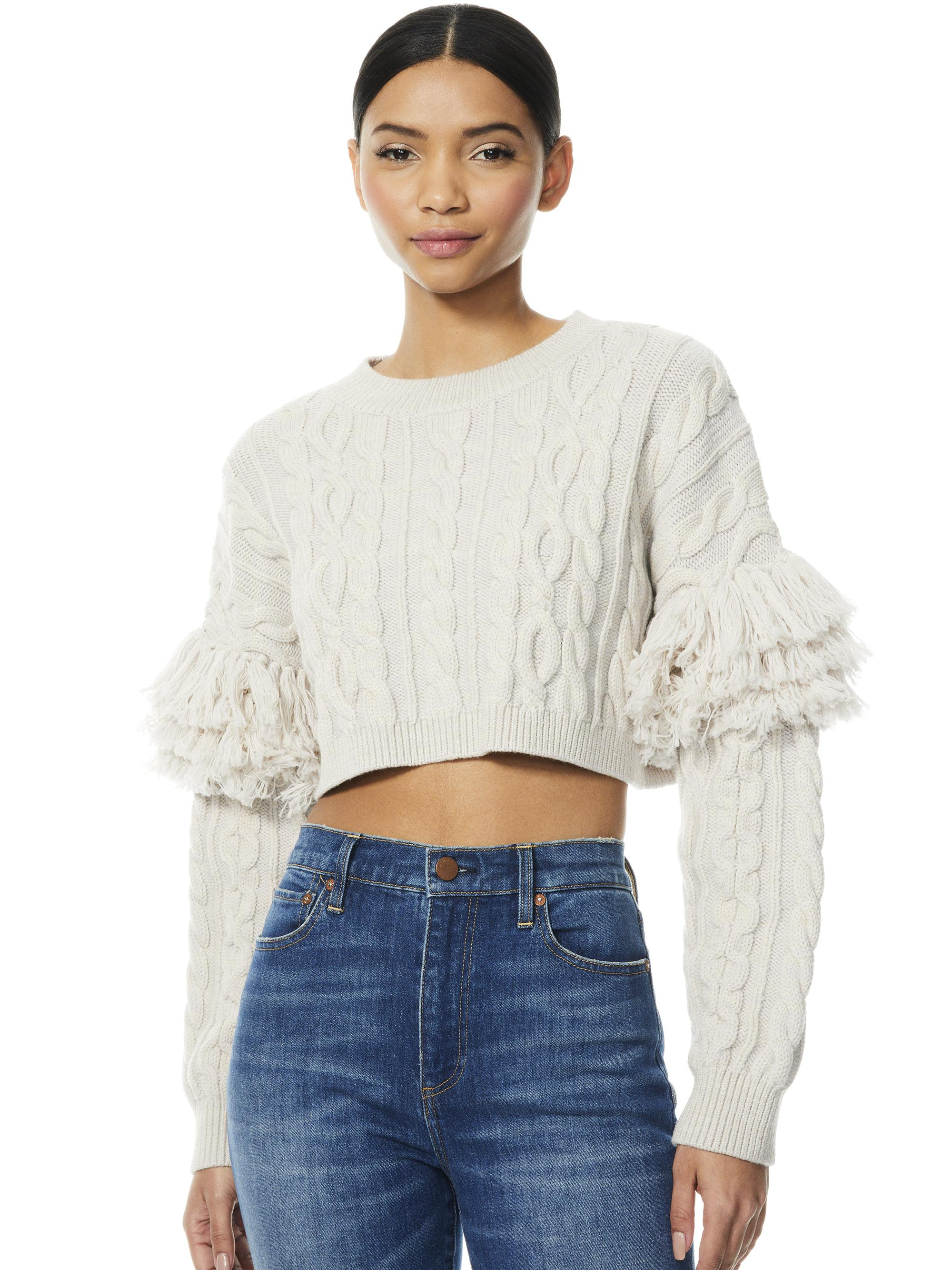 KALA CROPPED CABLEKNIT PULLOVER