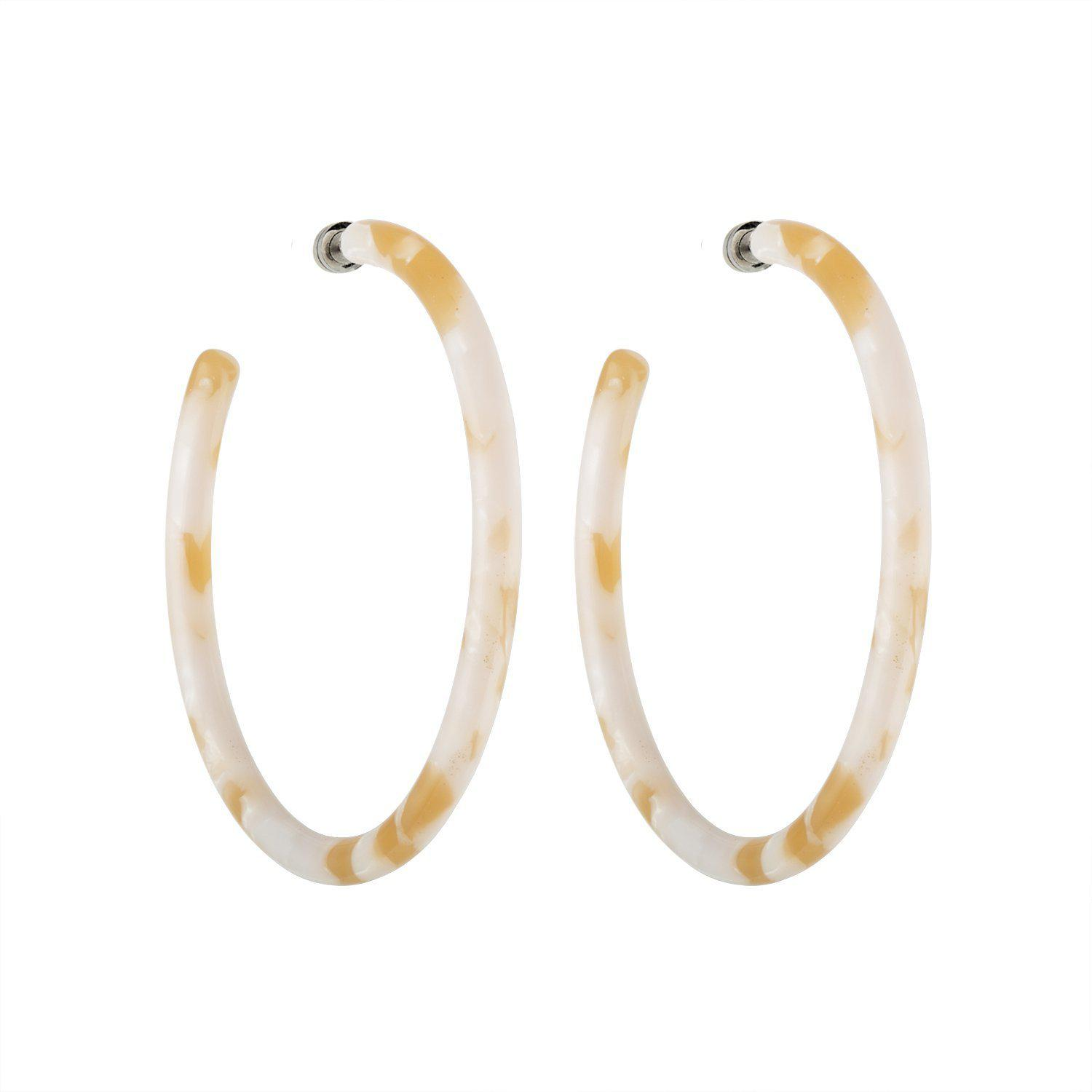Large Hoops in Taupe Shell