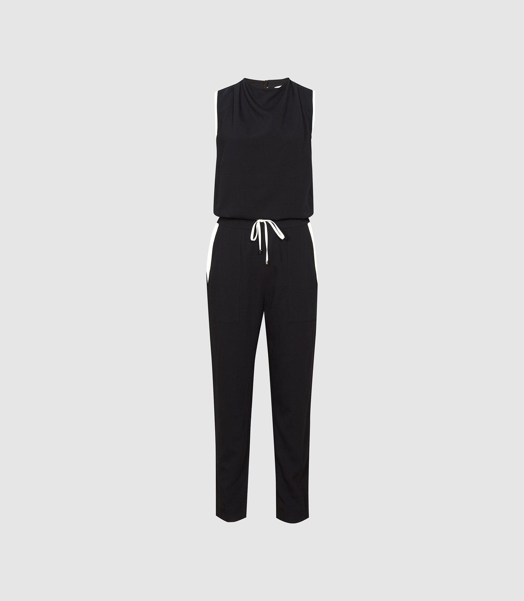 CLAUDIA - SLEEVELESS JUMPSUIT WITH CONTRAST TIPPING 4