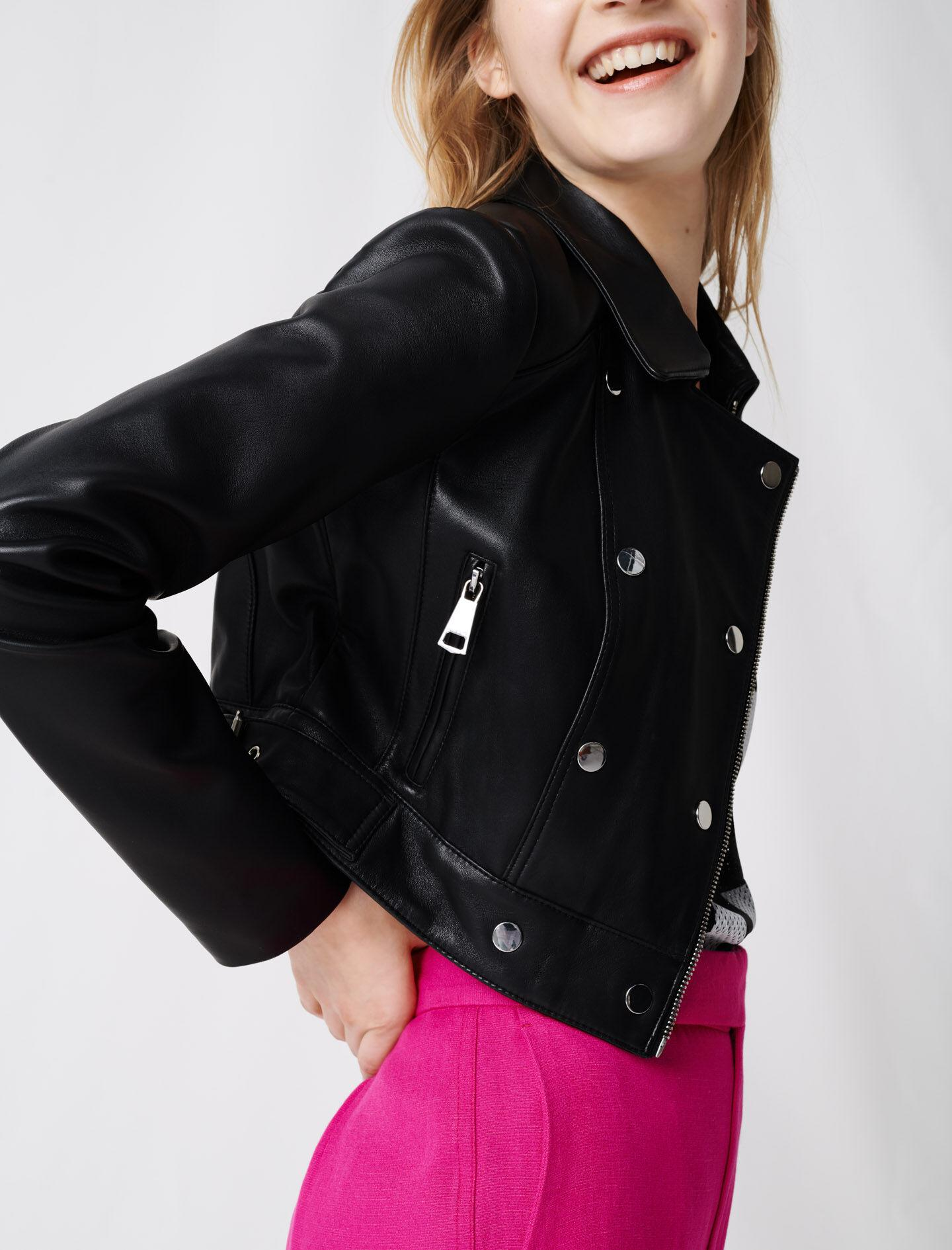 SHORT LEATHER JACKET WITH ASYMMETRIC ZIP 2