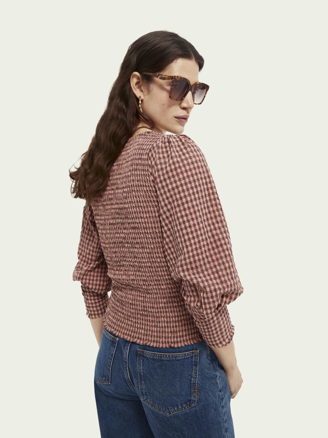 Seersucker top with smock details and square neck 2