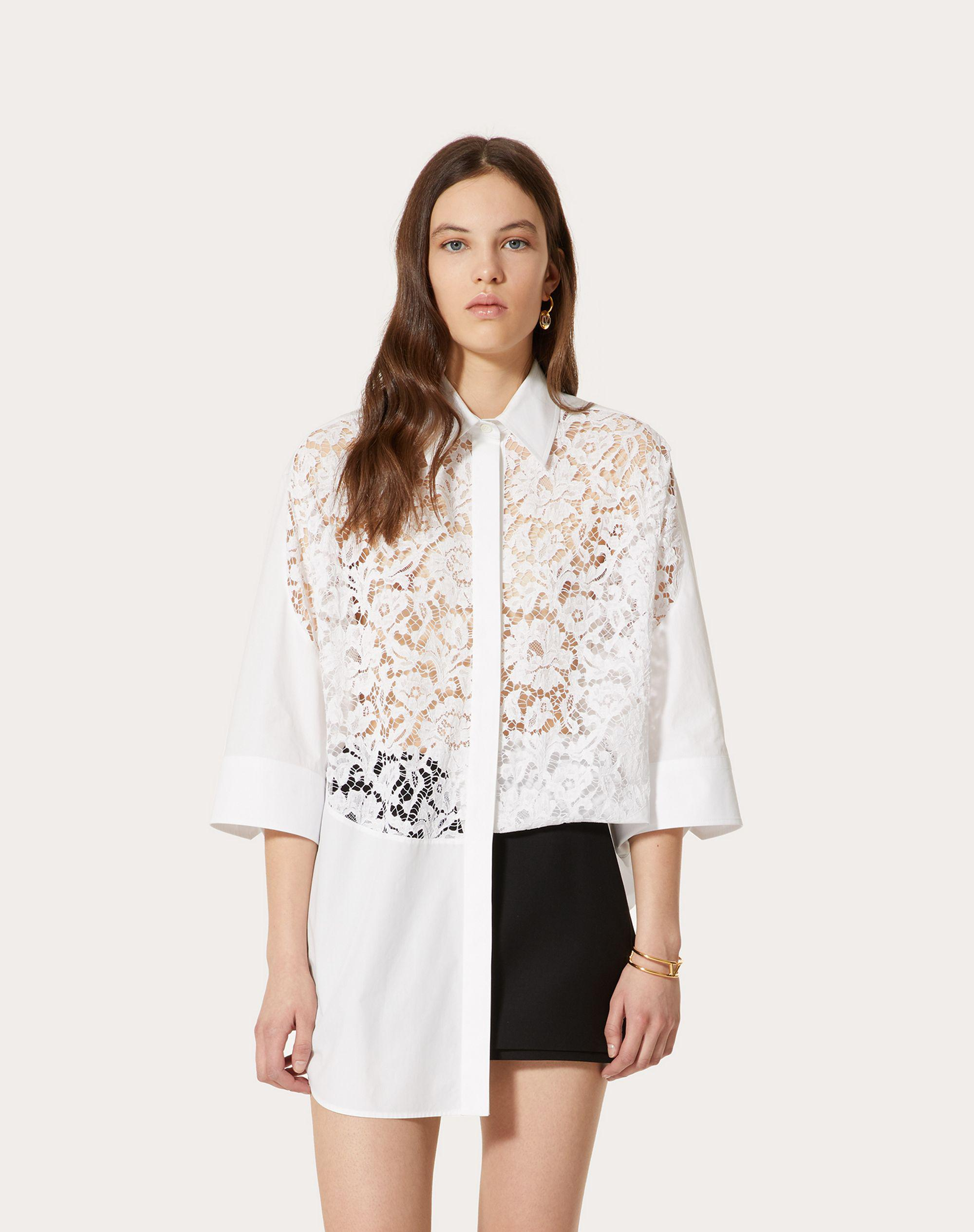 COTTON POPLIN AND HEAVY LACE SHIRT 1