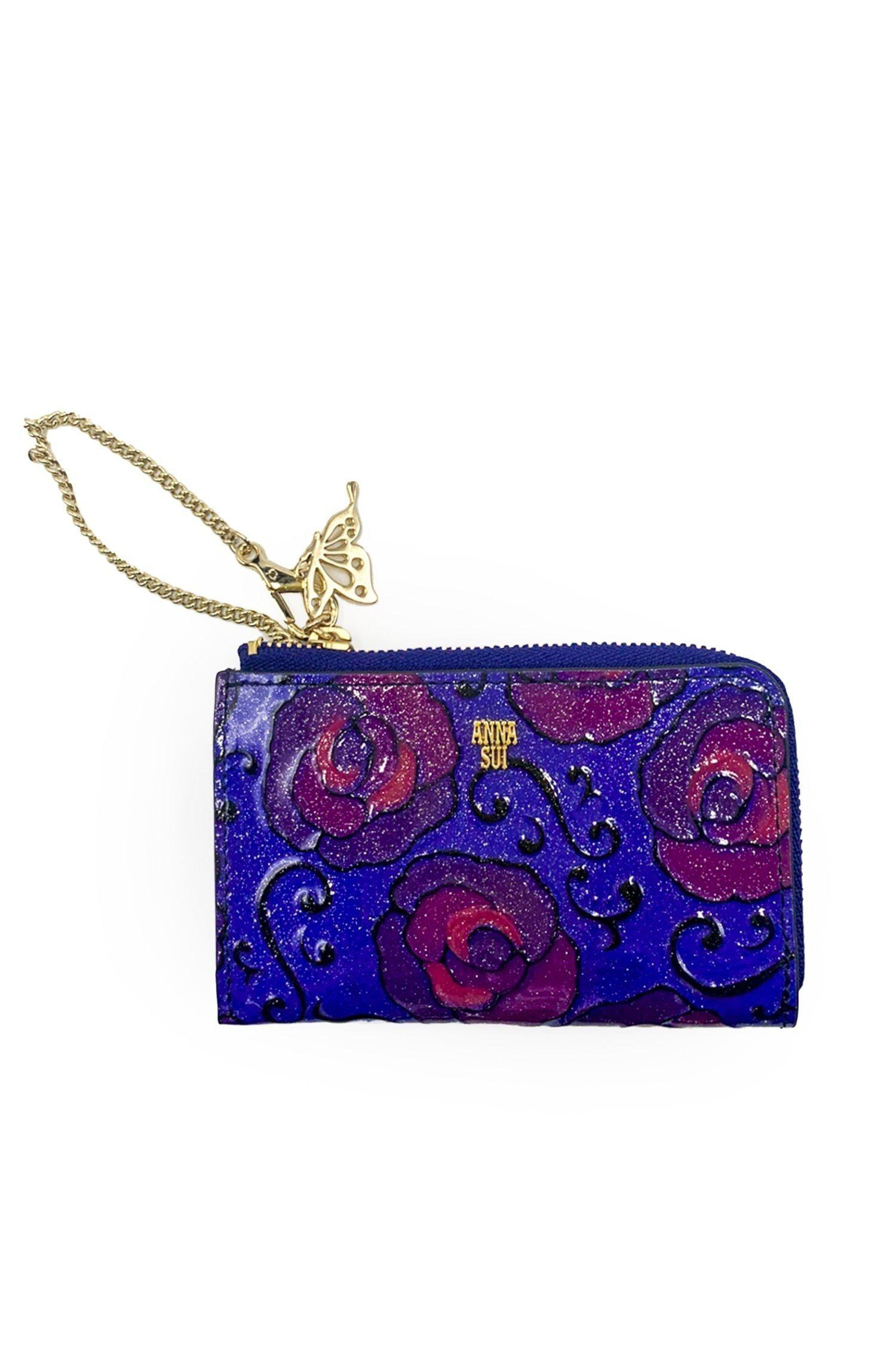 Whimsical Rose Small Zip Around Card Holder Wallet