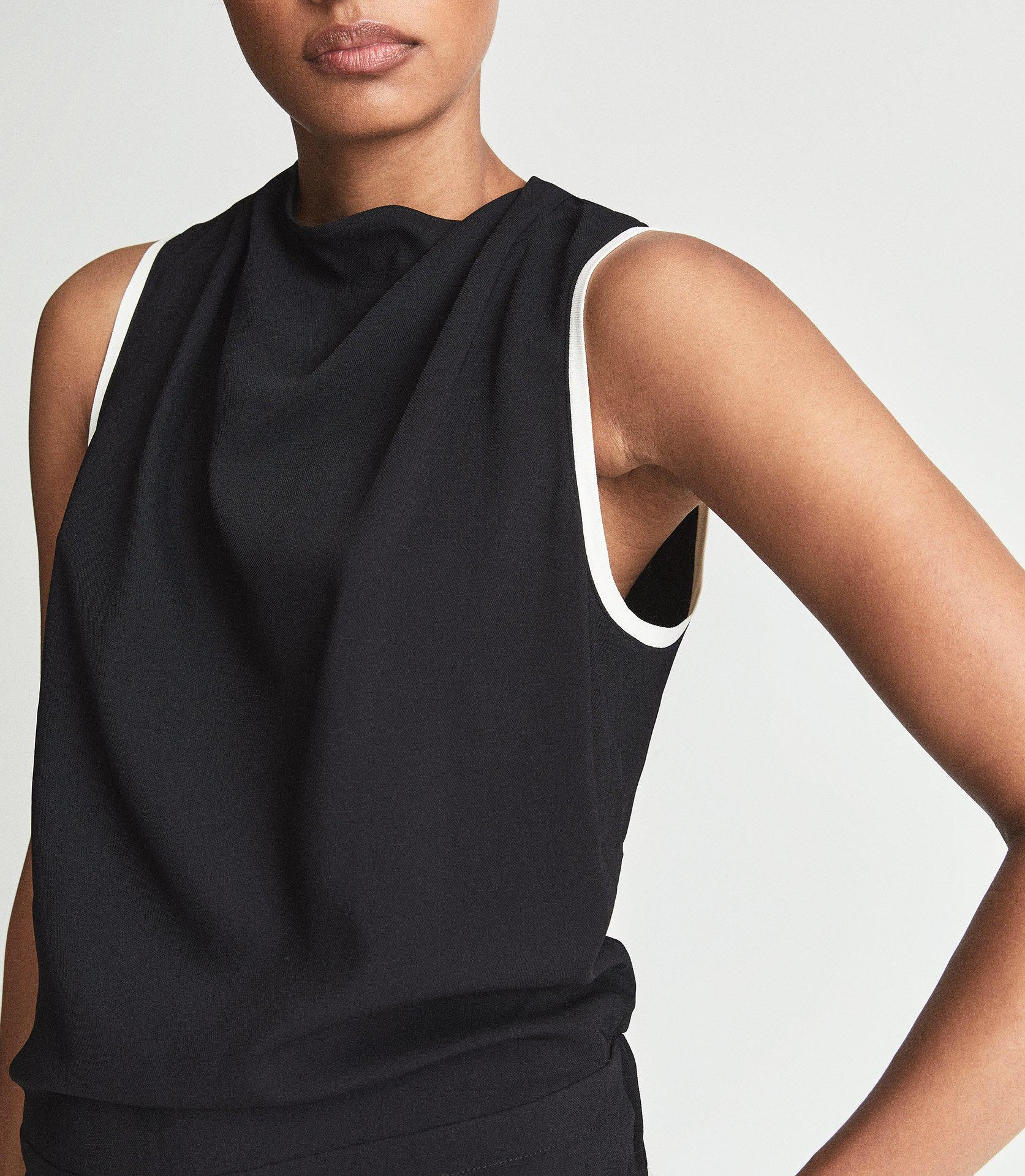 CLAUDIA - SLEEVELESS JUMPSUIT WITH CONTRAST TIPPING 2