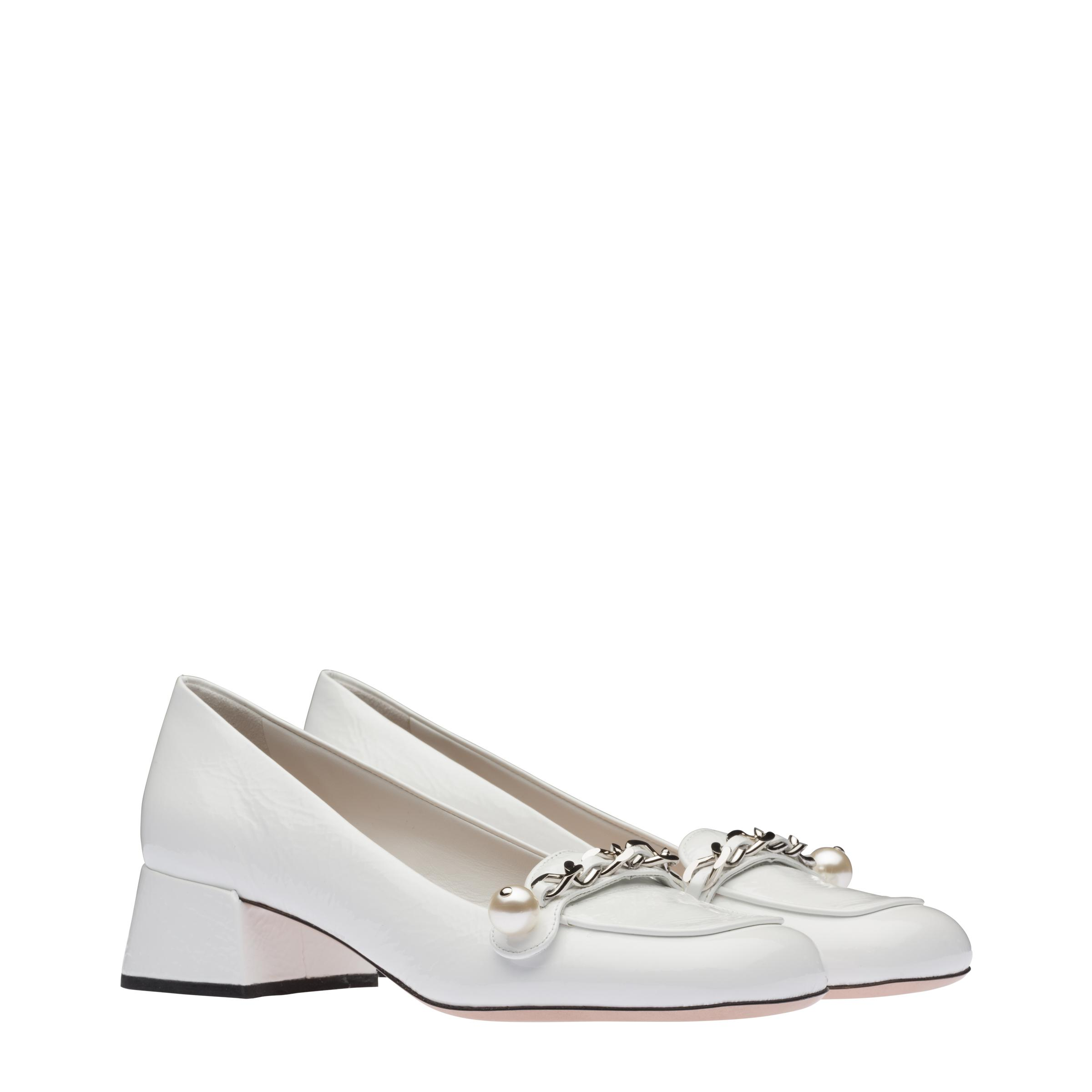 Patent Leather Loafers Women White