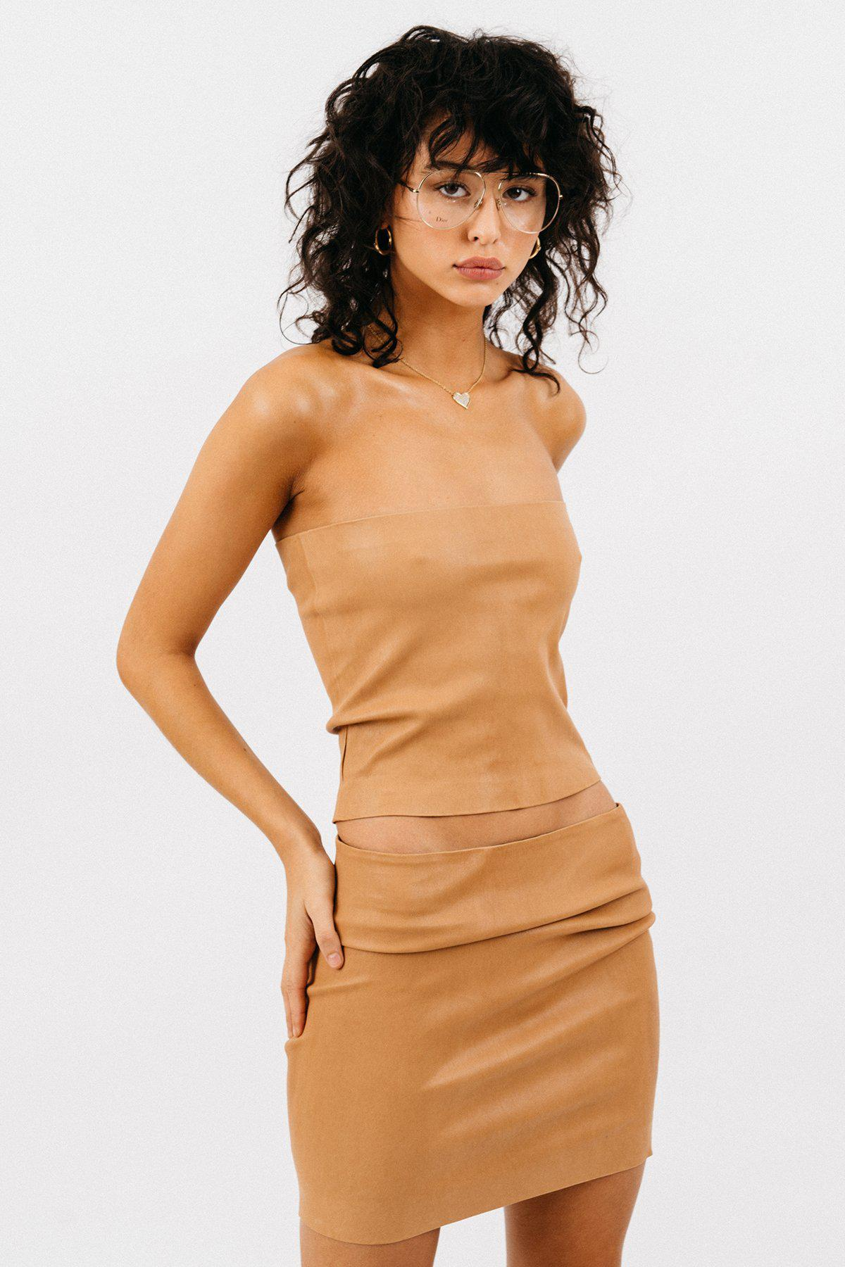 Caramel Leather Tube Top