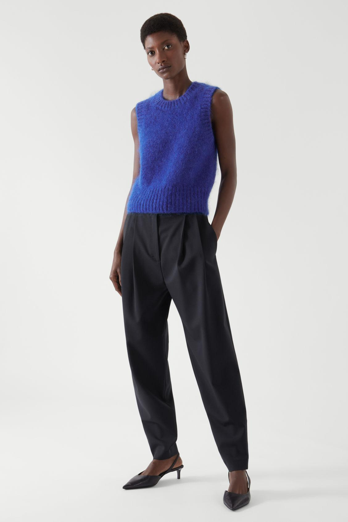 MOHAIR KNITTED CROPPED VEST