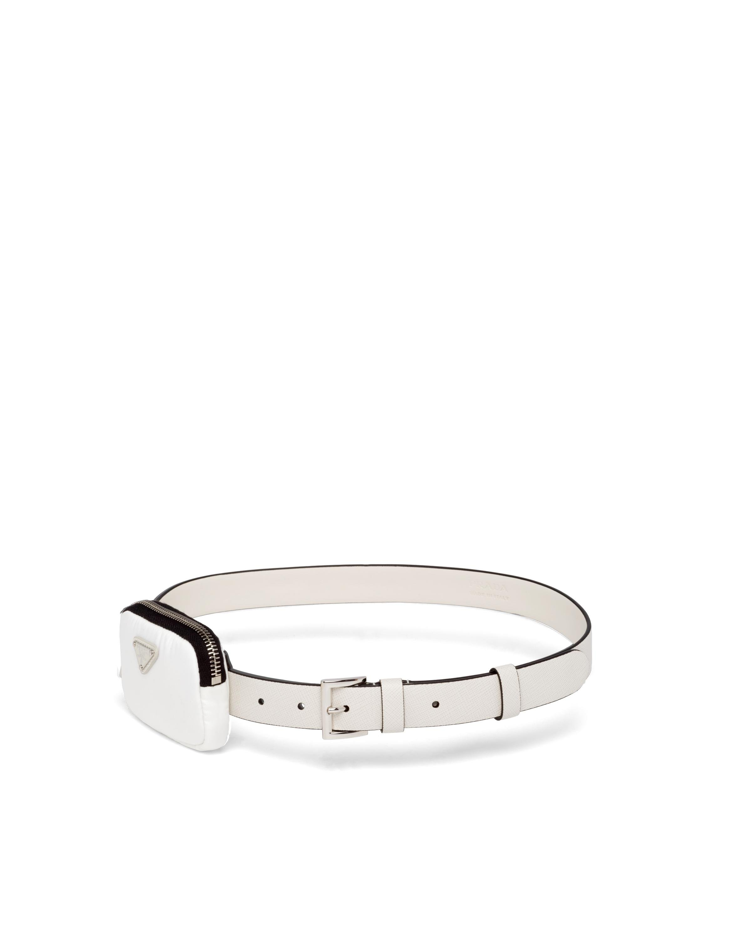 Saffiano Leather Belt With Pouch Women Chalk White