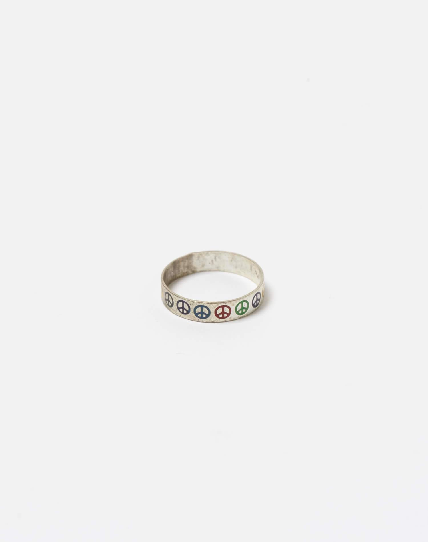 1960s Mexican Sterling Silver Inlaid Turquoise Peace Sign Ring - #104